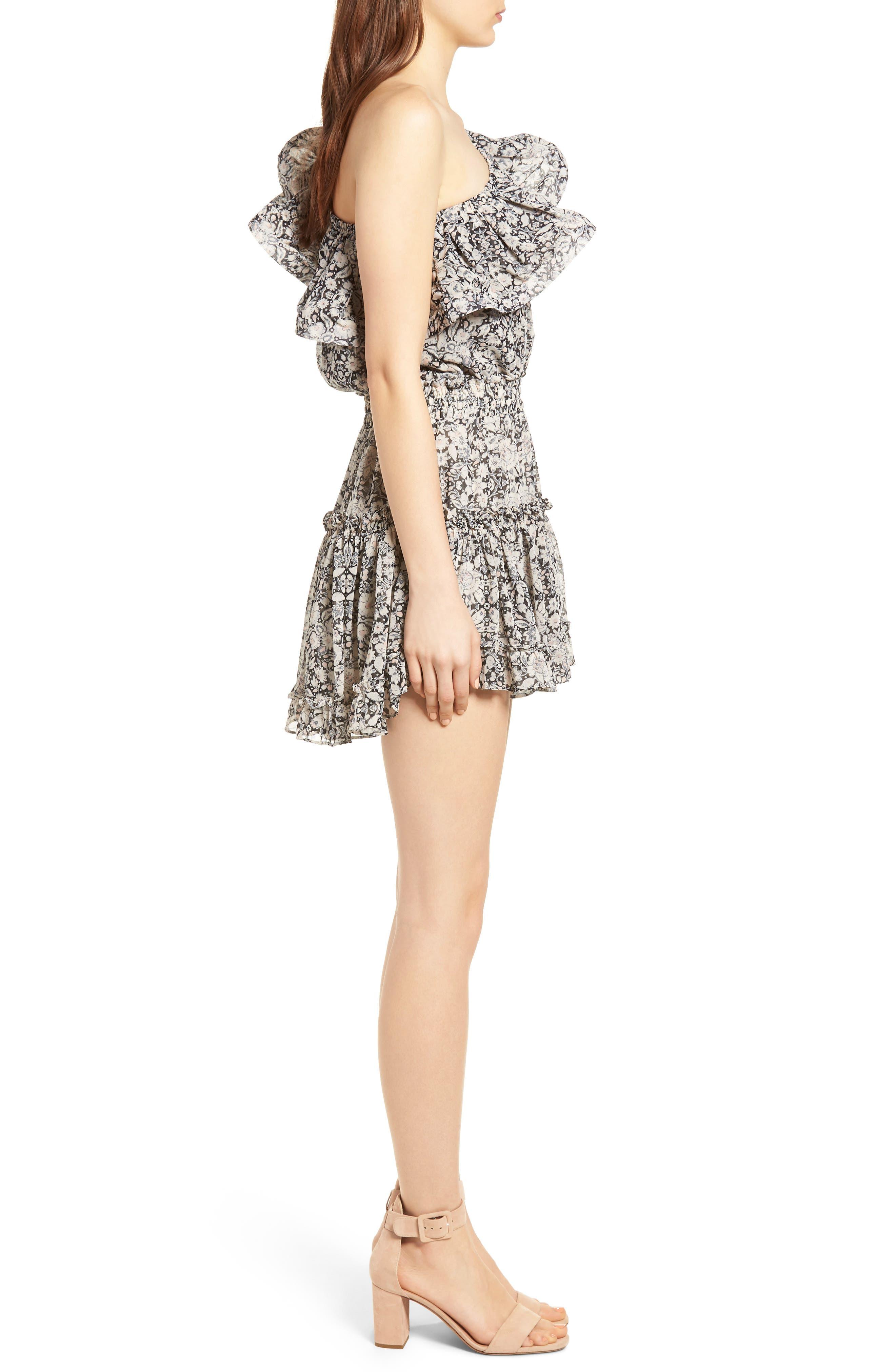 Josefine Ruffle One-Shoulder Dress,                             Alternate thumbnail 3, color,                             Multi Fe8