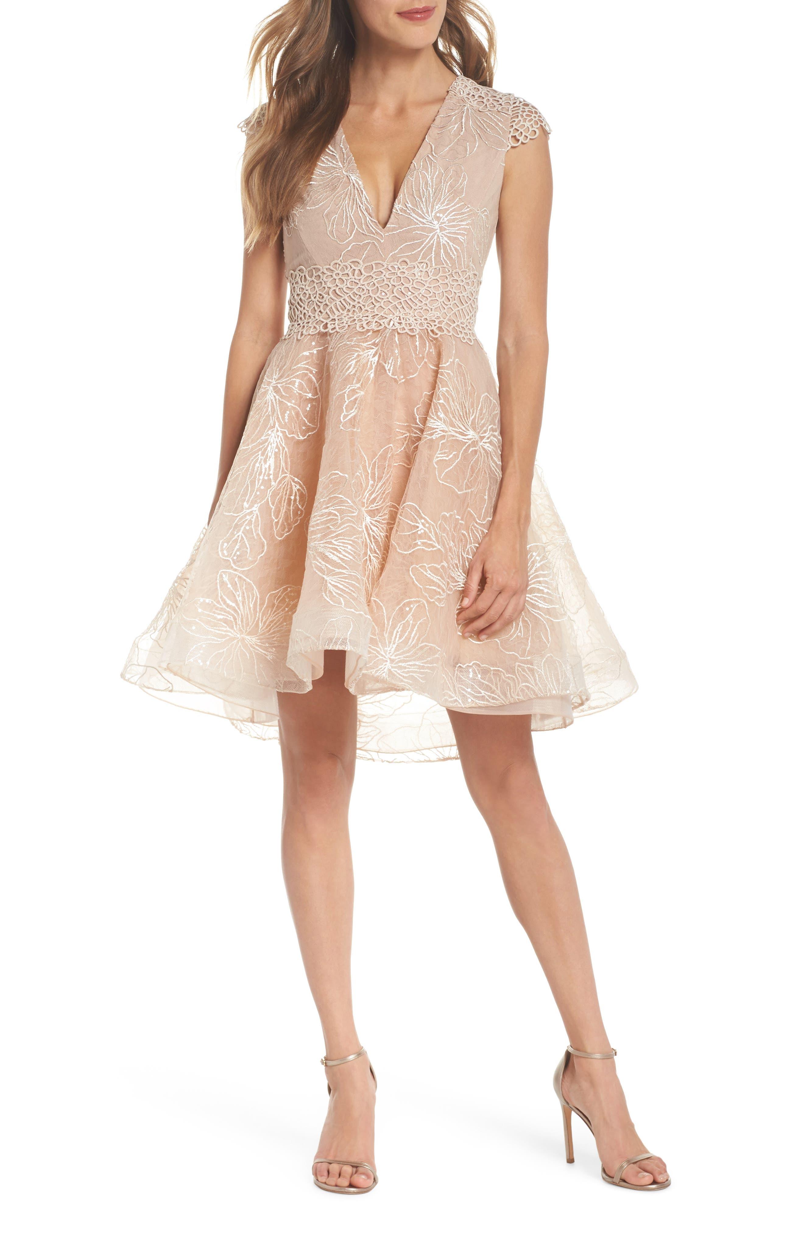 Fiore Sequin Fit & Flare Dress,                             Main thumbnail 1, color,                             Beige