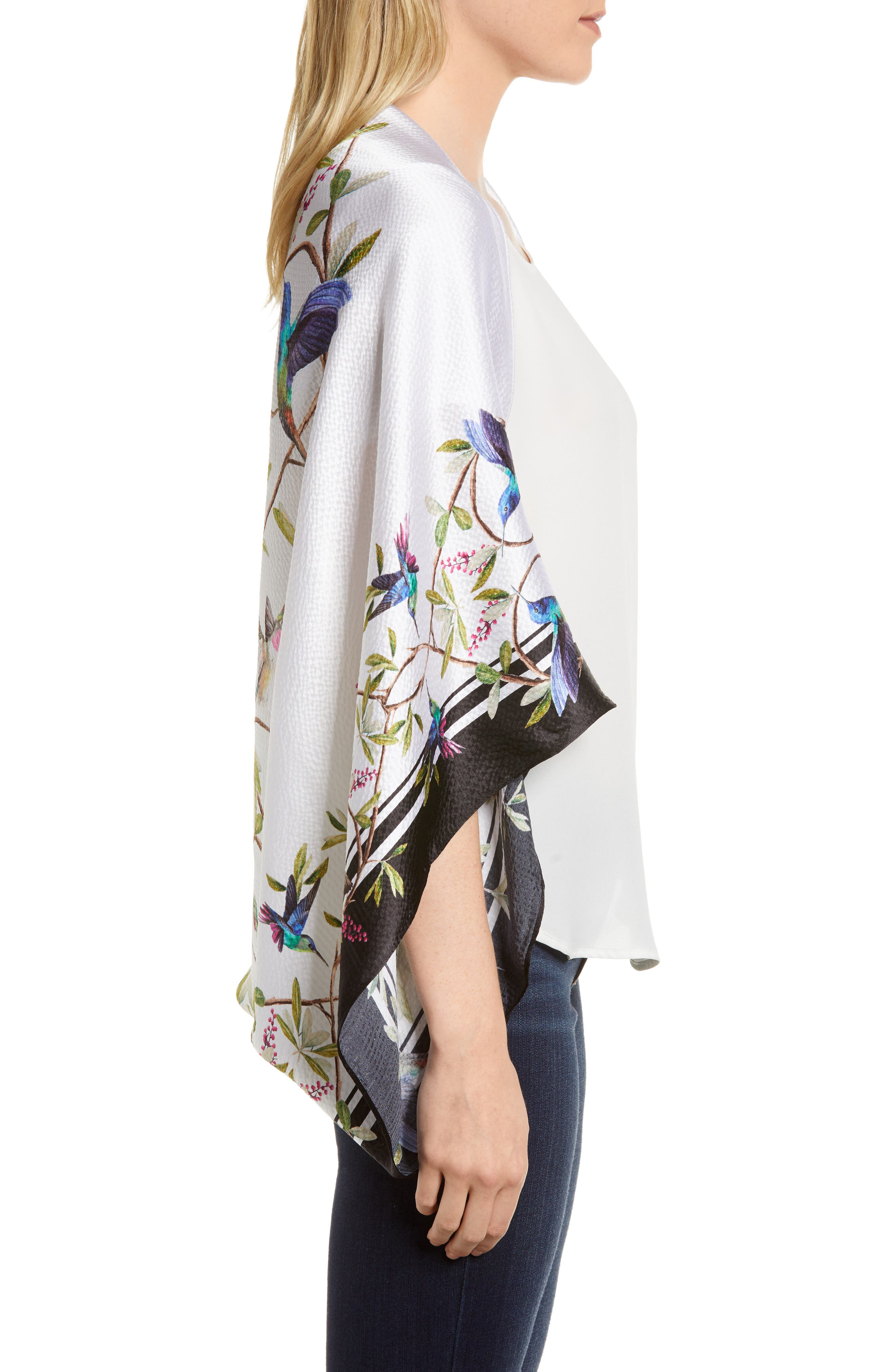 Chatsworth Bloom Silk Cape Scarf,                             Alternate thumbnail 3, color,                             White