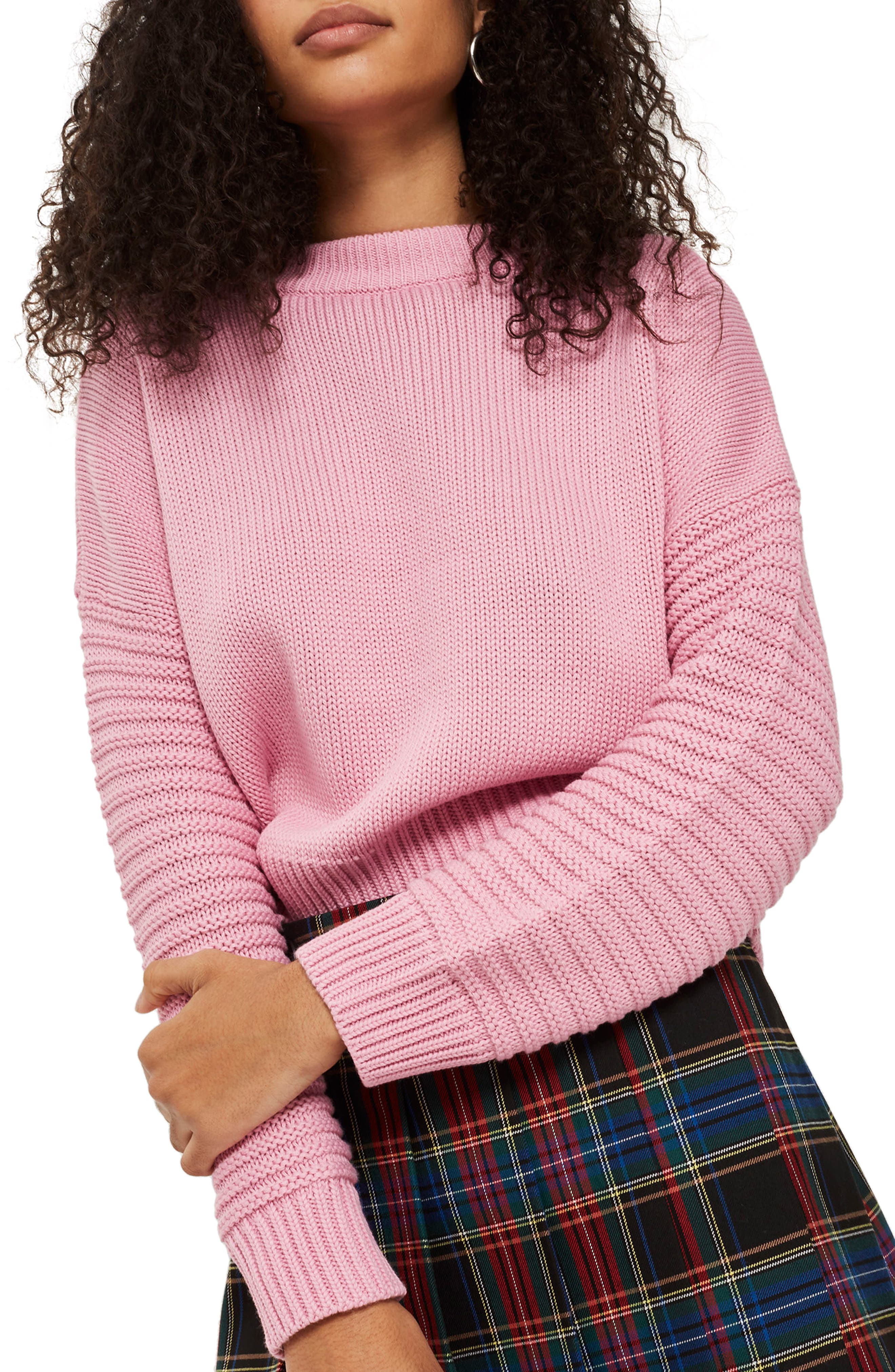 Stitch Detail Sleeve Sweater,                         Main,                         color, Pink