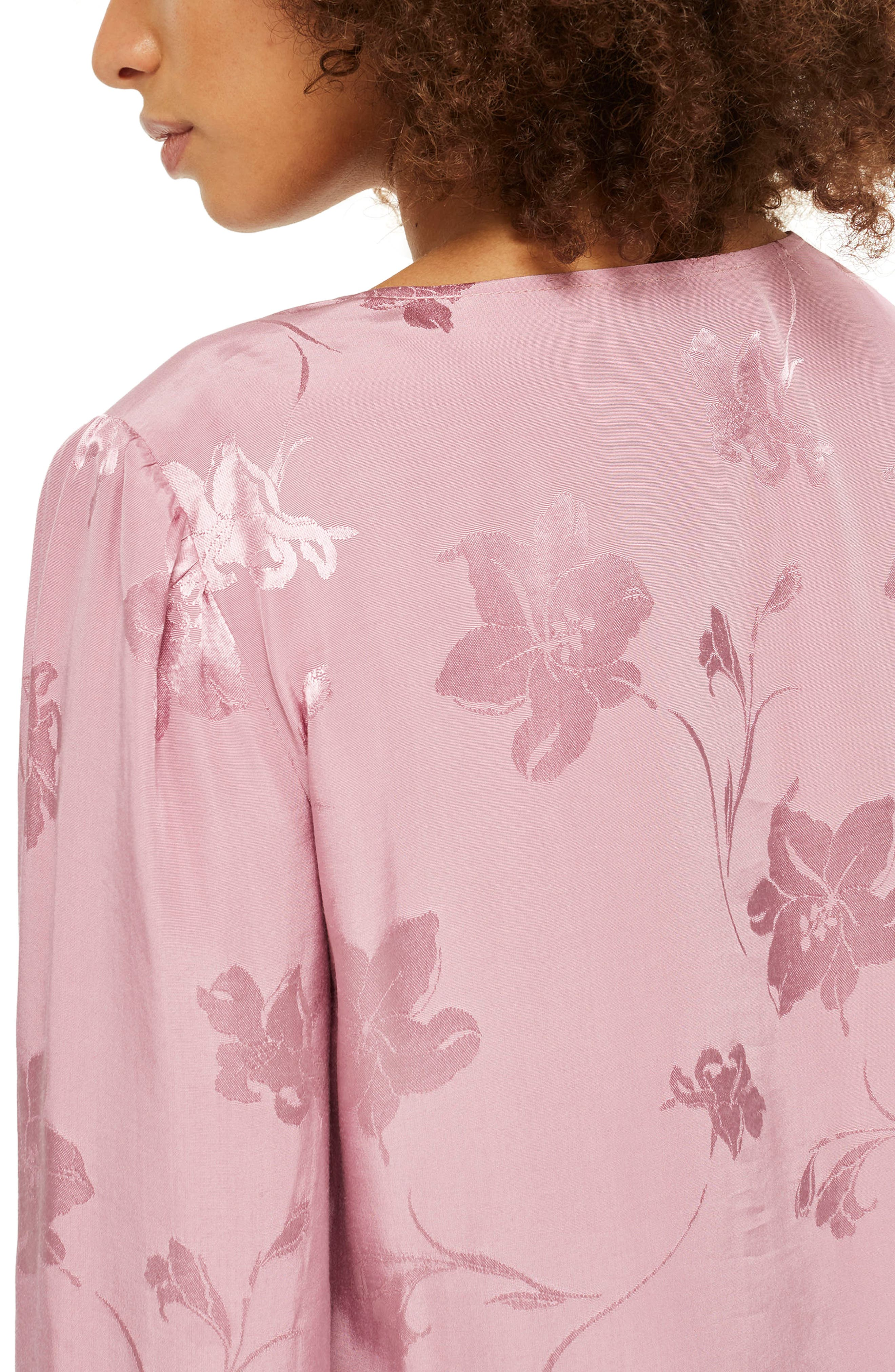 Floral Jacquard Blouse,                             Alternate thumbnail 2, color,                             Dusty Pink