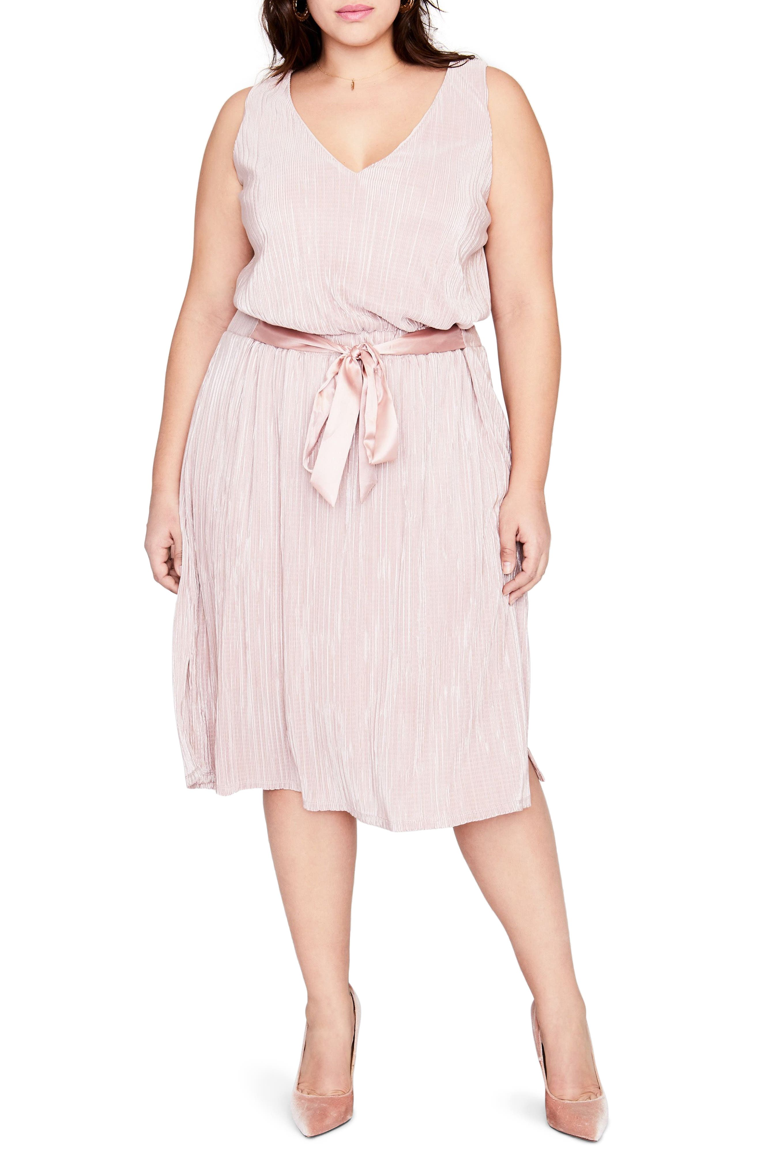 Belted Metallic Pleated Blouson Dress,                         Main,                         color, Blush Combo
