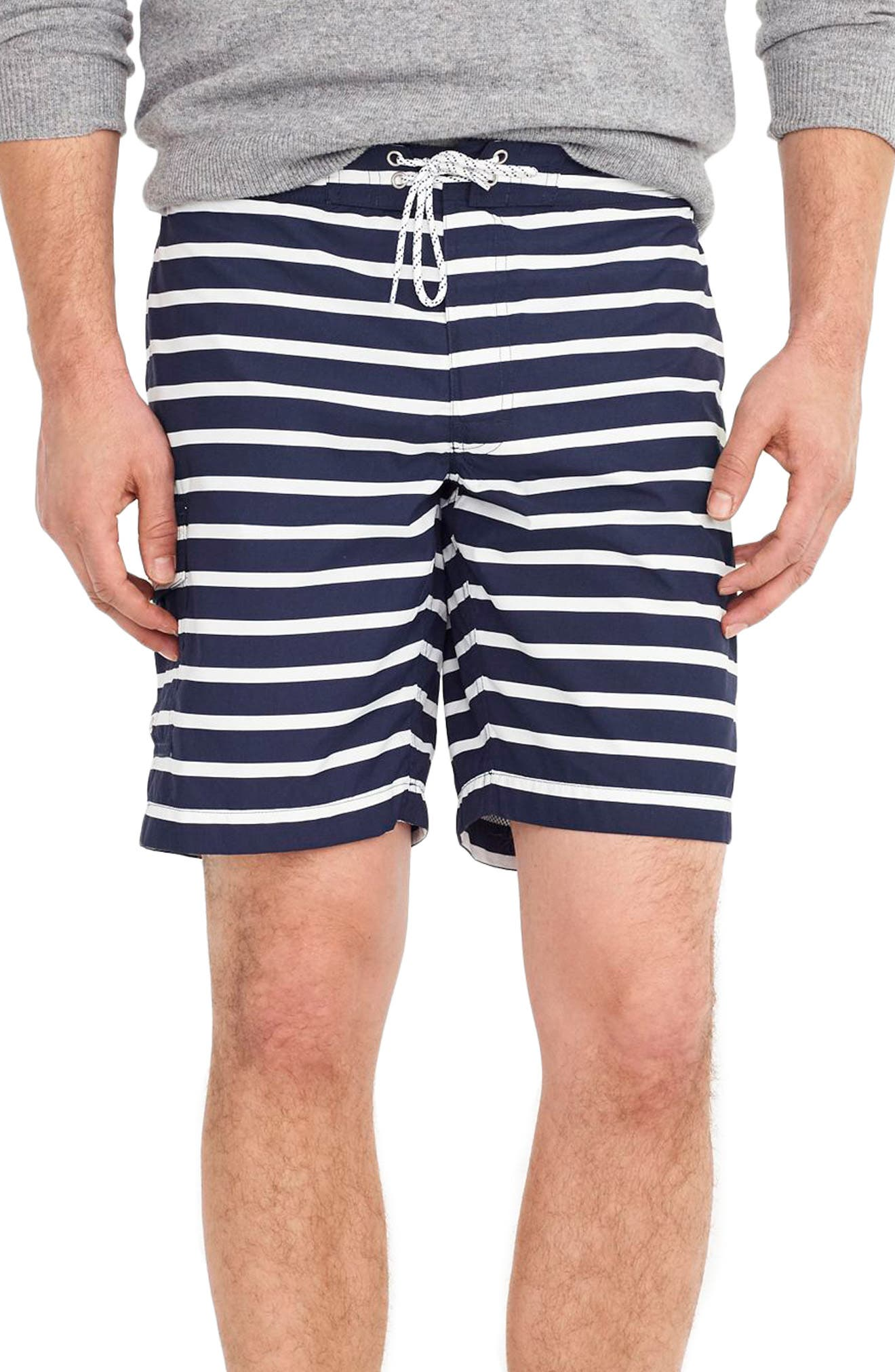 J.Crew Stripe Swim Trunks,                             Main thumbnail 1, color,                             Navy White