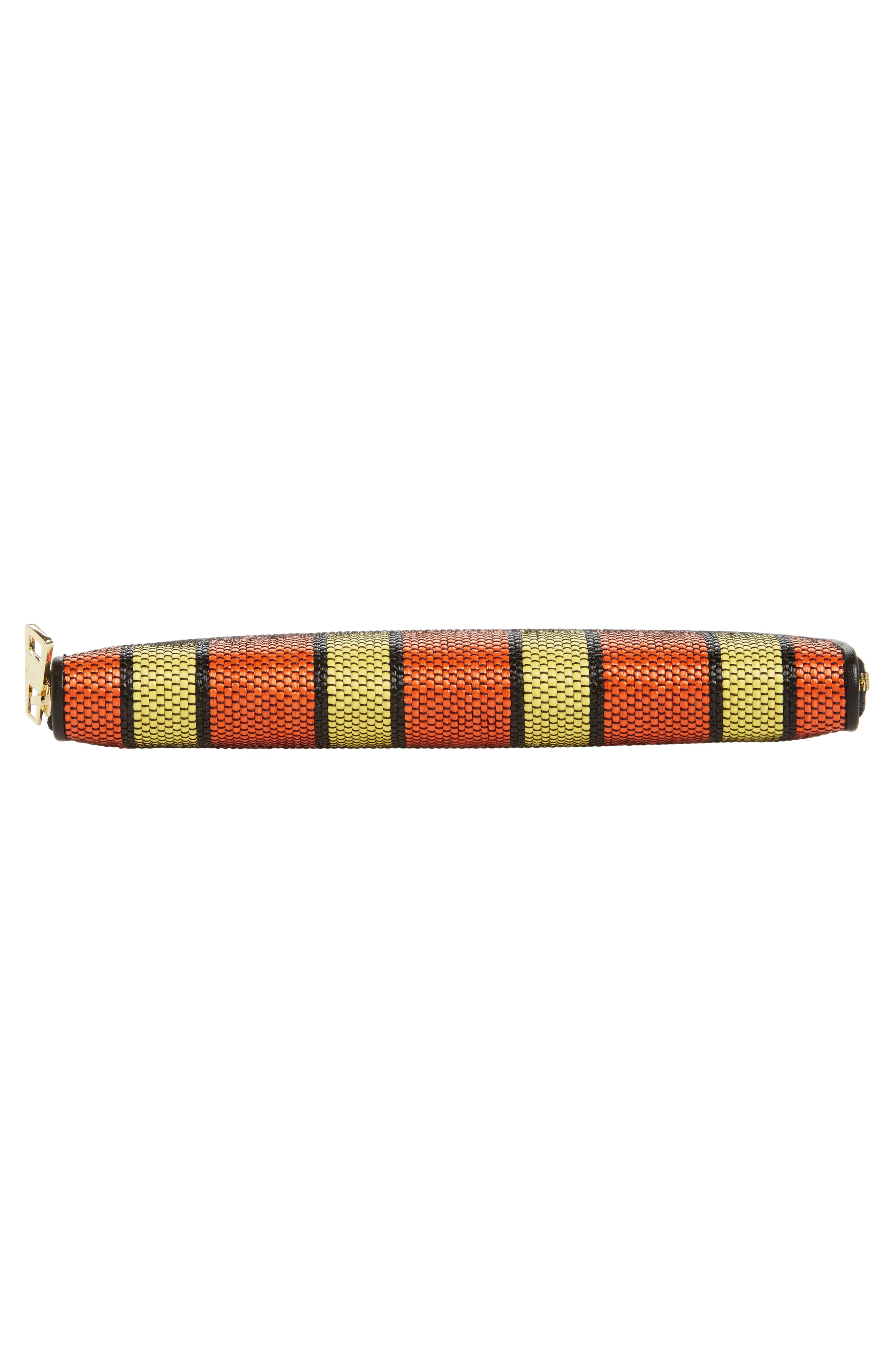 Raffia Continental Zip Wallet,                             Alternate thumbnail 6, color,                             Orange/ Yellow/ Black
