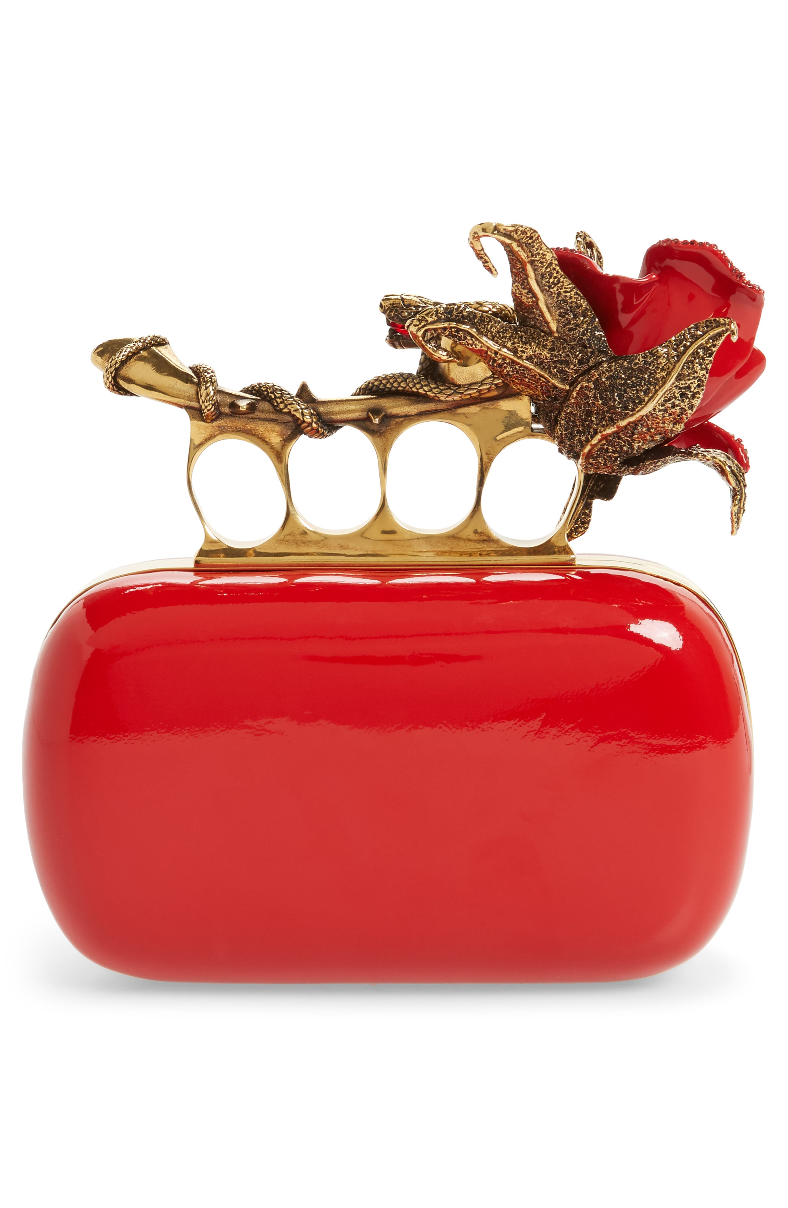 Knuckle Clasp Patent Leather Box Clutch,                             Alternate thumbnail 3, color,                             Lust Red