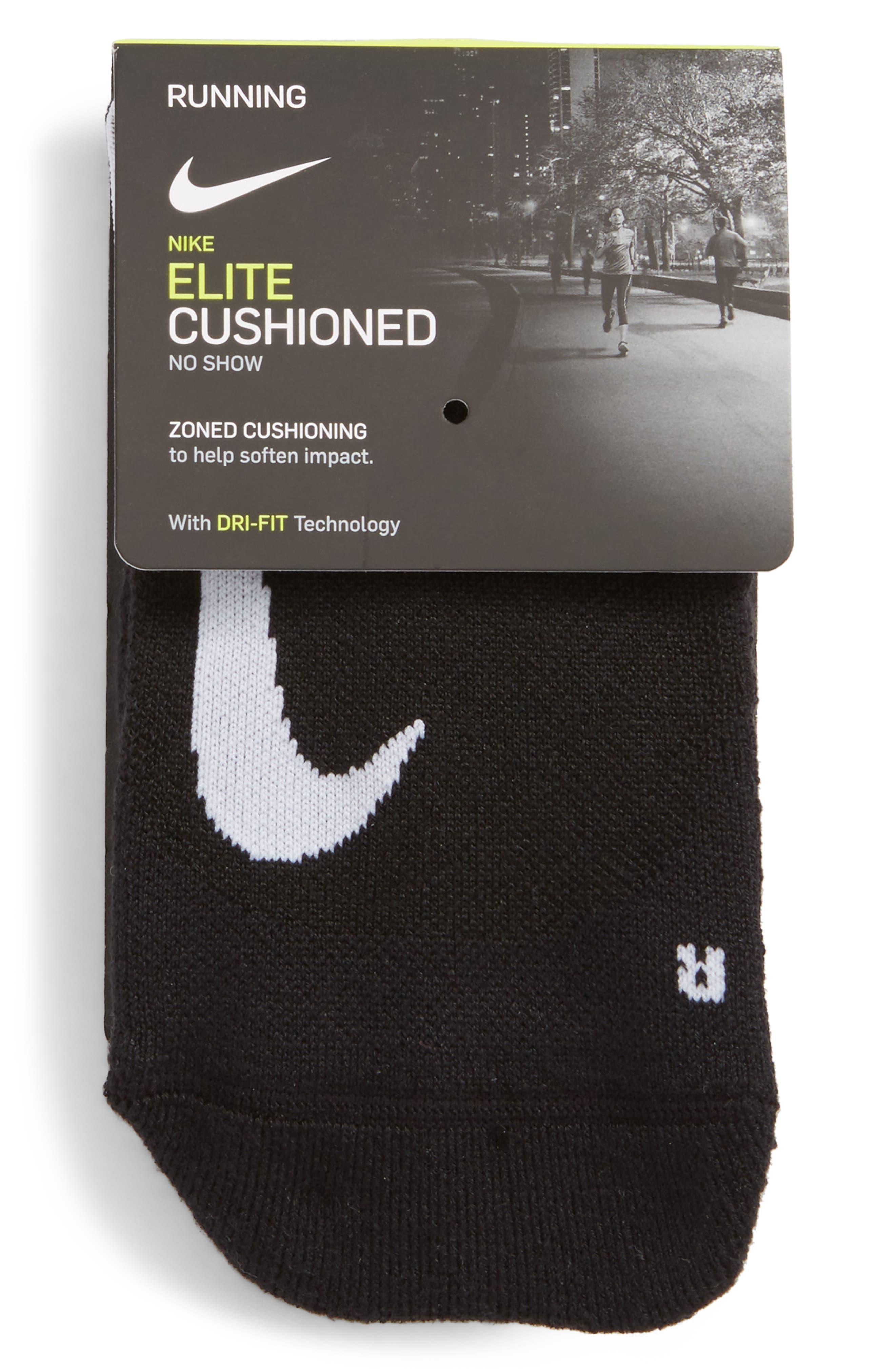 Elite Cushioned No-Show Tab Running Socks,                             Alternate thumbnail 6, color,                             Black