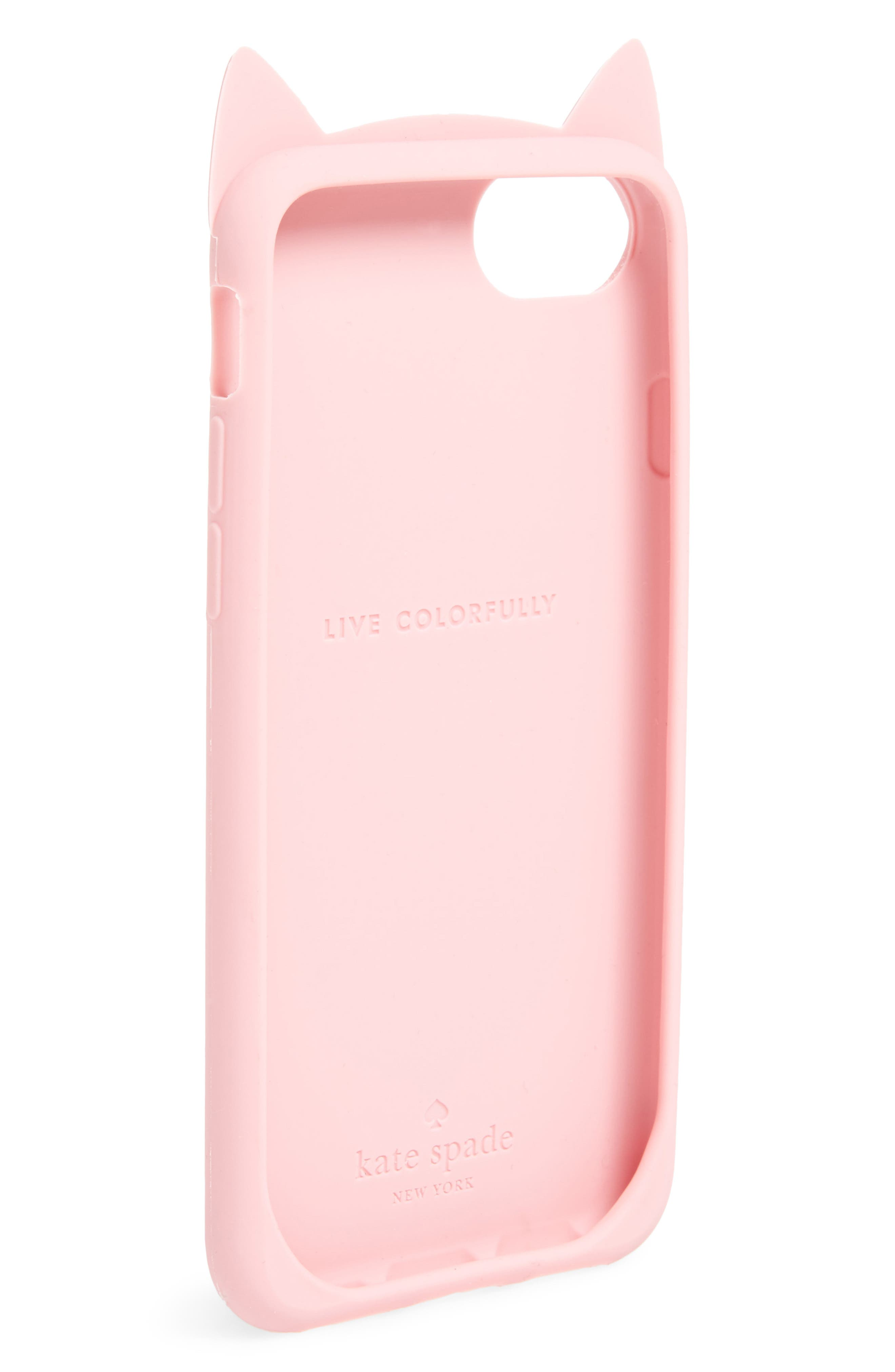 cat silicone iPhone 7/8 case,                             Alternate thumbnail 2, color,                             Pink Multi