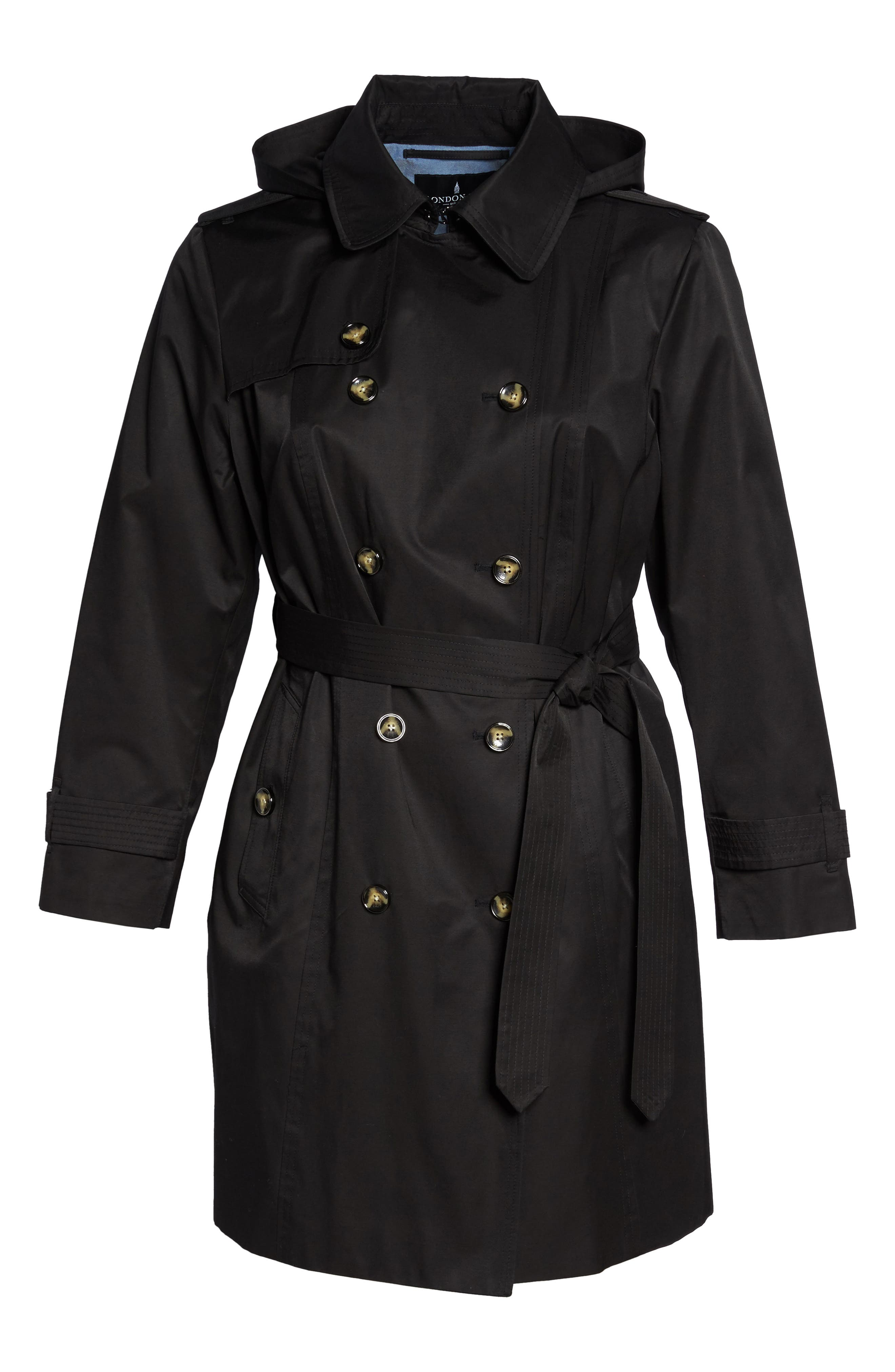 Alternate Image 6  - London Fog Hooded Double Breasted Trench Coat (Plus Size)