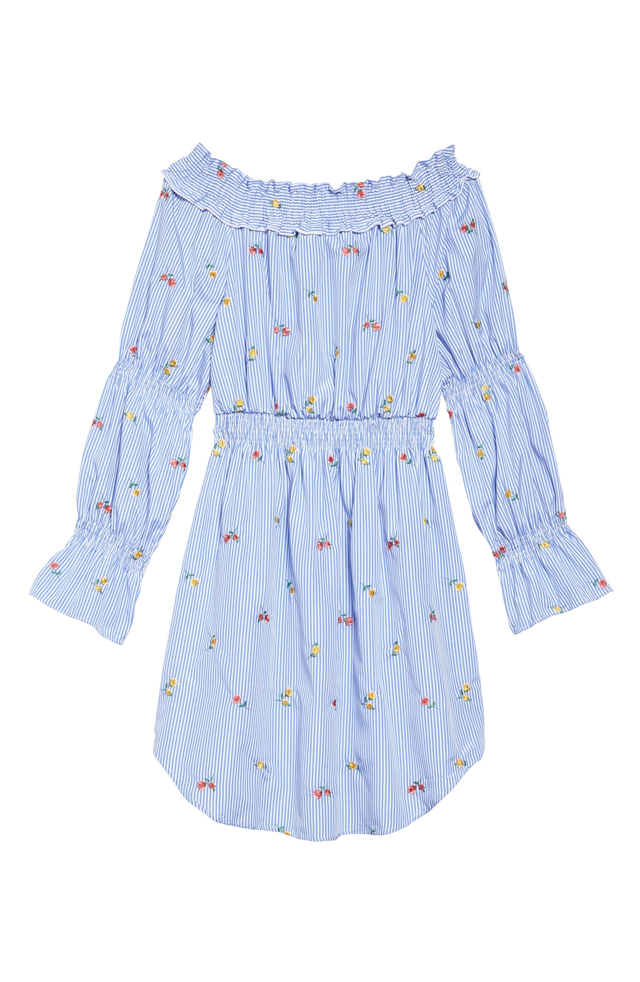 Floral Embroidery Stripe Off the Shoulder Dress,                             Alternate thumbnail 2, color,                             Light Blue/ White