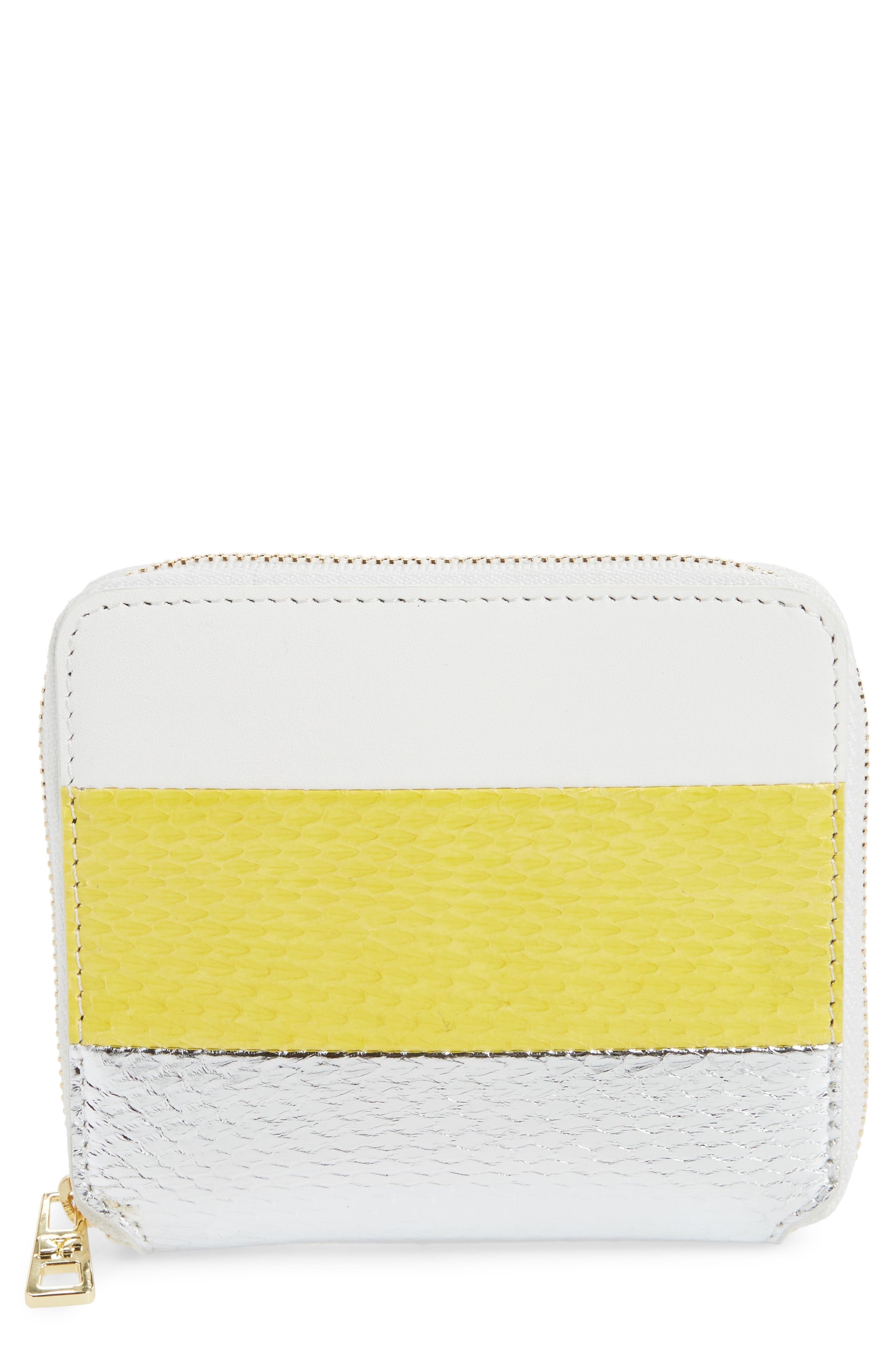Small Leather & Genuine Snakeskin Zip Wallet,                             Main thumbnail 1, color,                             Yellow/ Silver/ White