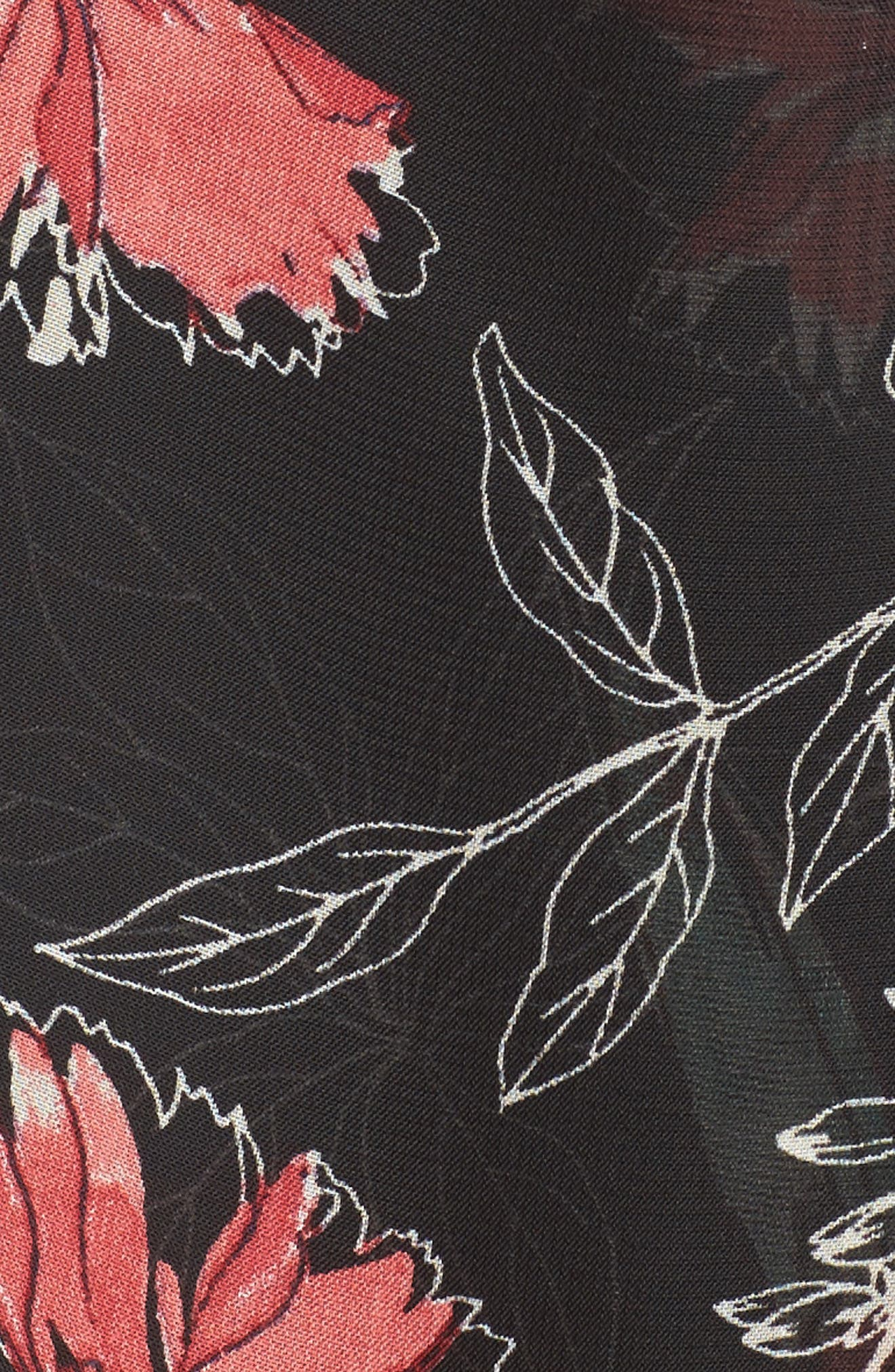Chiffon Faux Wrap Dress,                             Alternate thumbnail 6, color,                             Black Multi