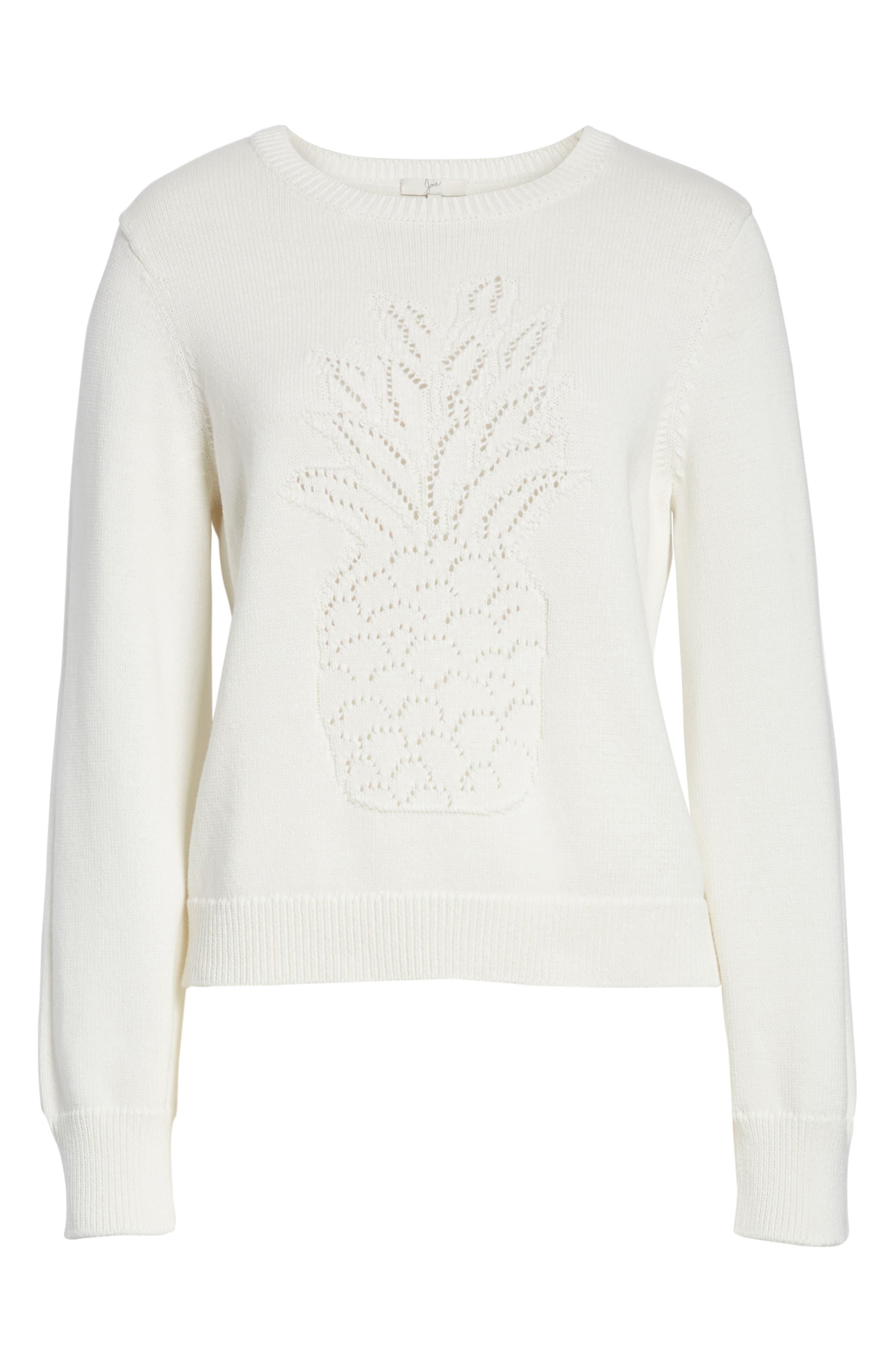 Barin Pineapple Cotton Sweater,                             Alternate thumbnail 6, color,                             Porcelain