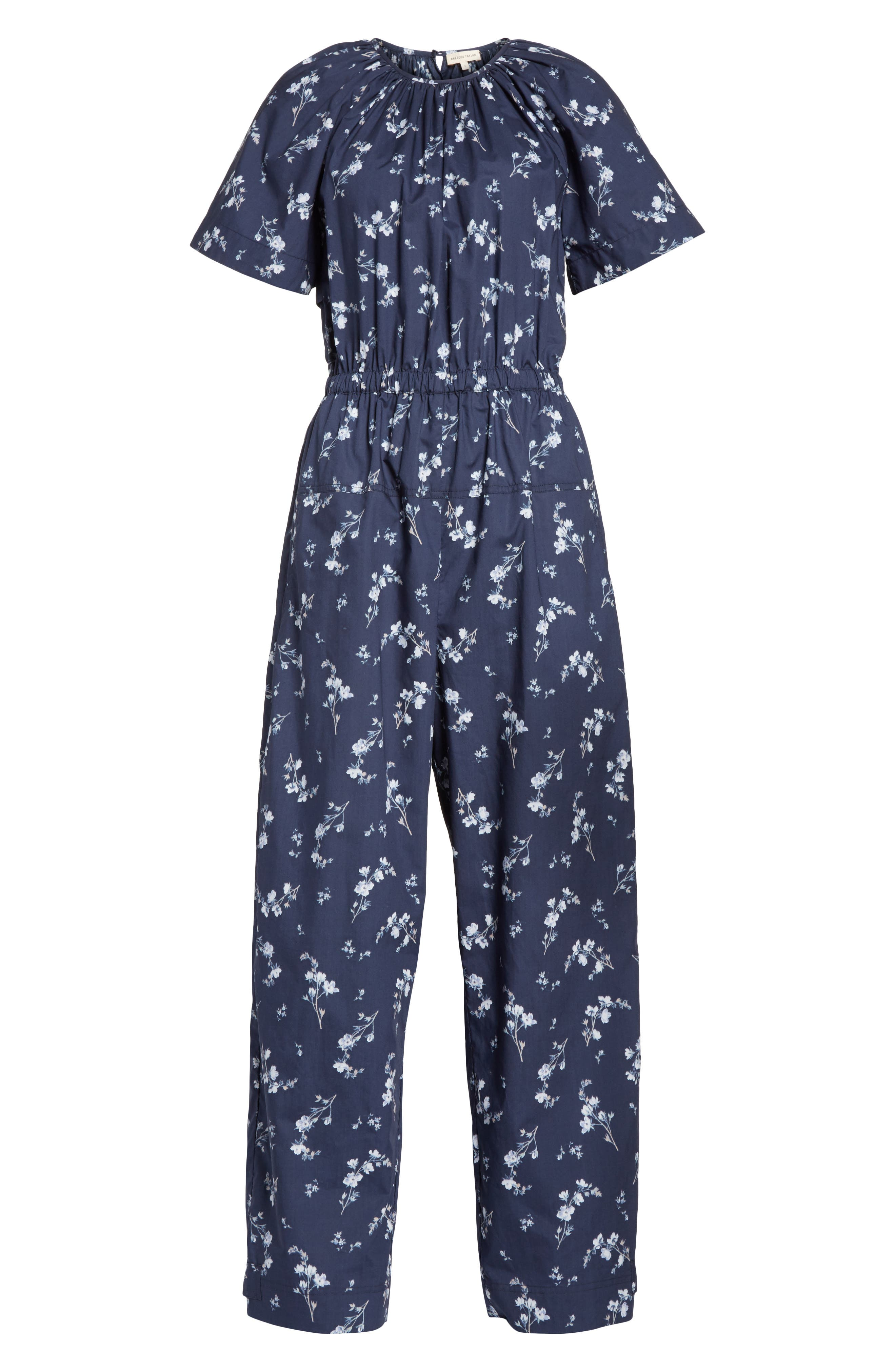 Francine Floral Print Jumpsuit,                             Alternate thumbnail 6, color,                             Navy Combo