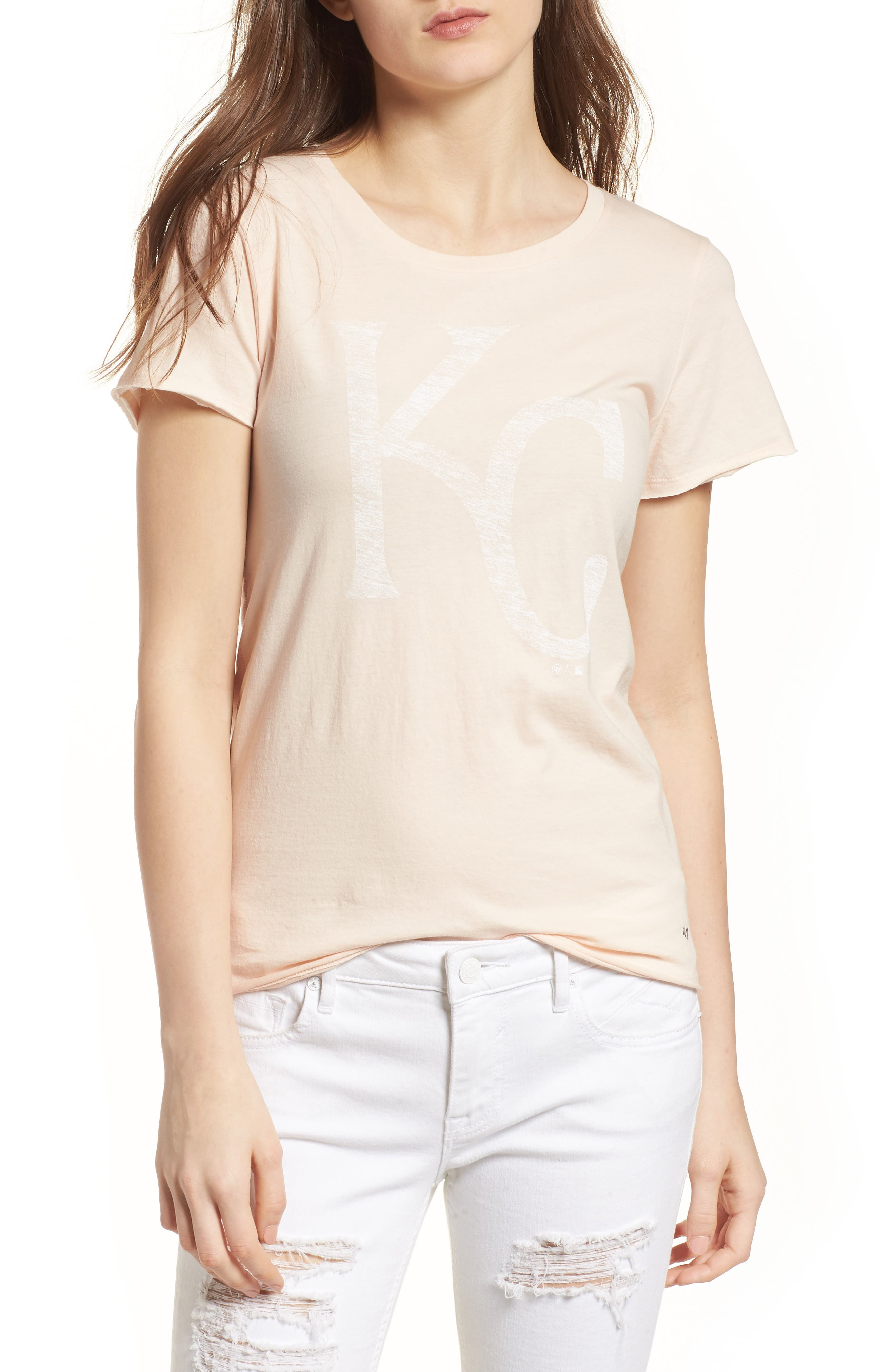 Kansas City Royals Fader Letter Tee,                         Main,                         color, Blush