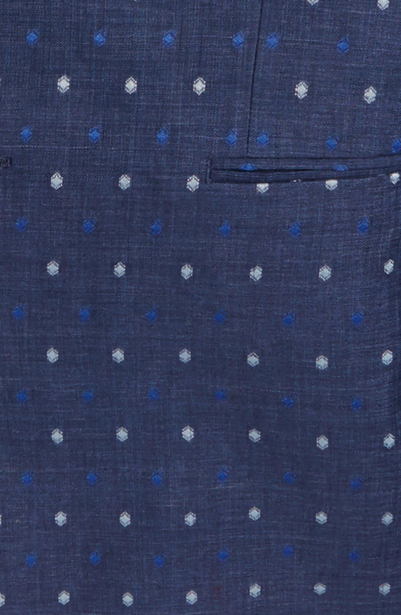 Dot Linen Blazer,                             Alternate thumbnail 2, color,                             Navy/ Blue/ White