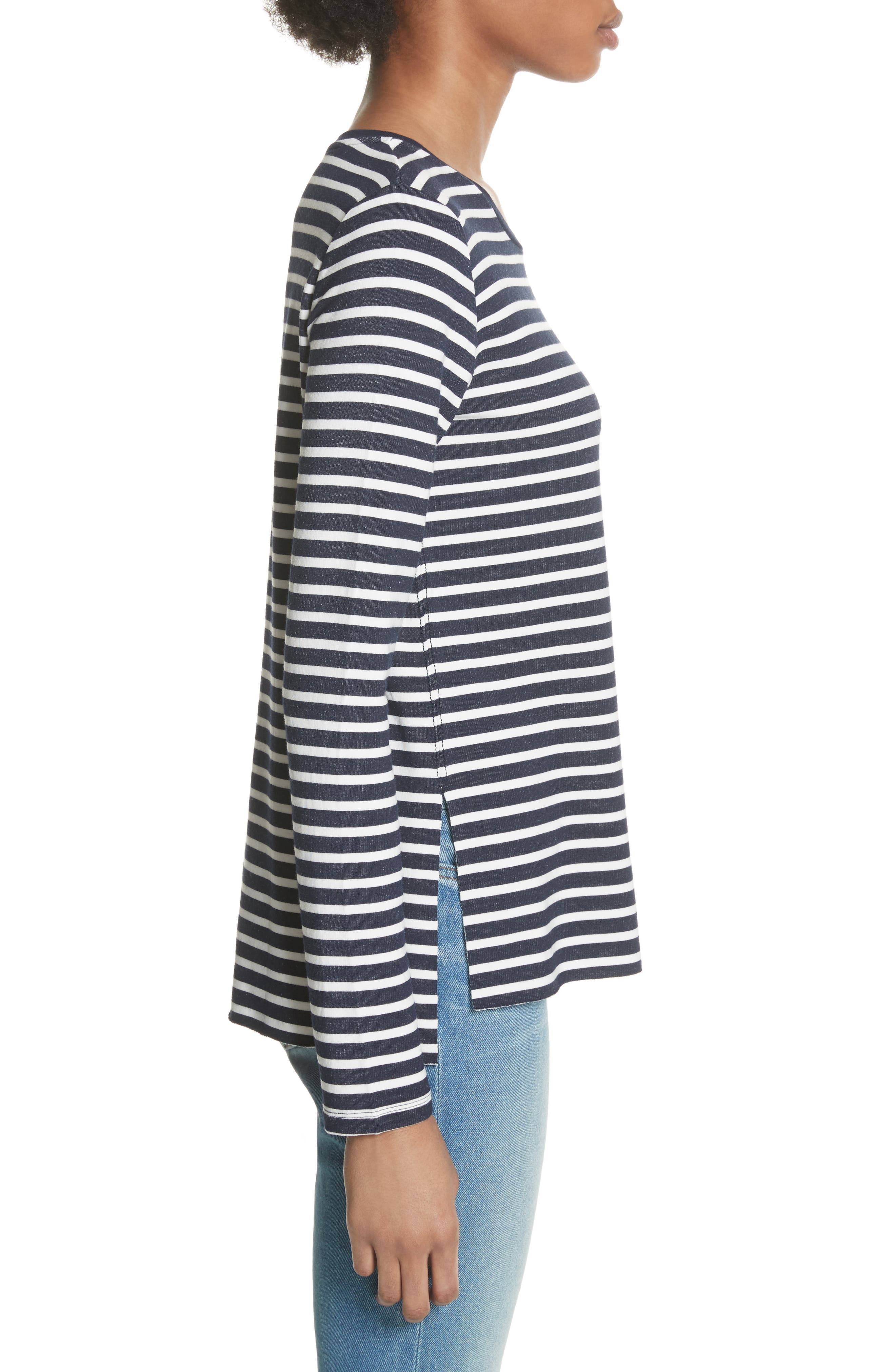 Stripe Sweatshirt,                             Alternate thumbnail 3, color,                             Marine/ Milk