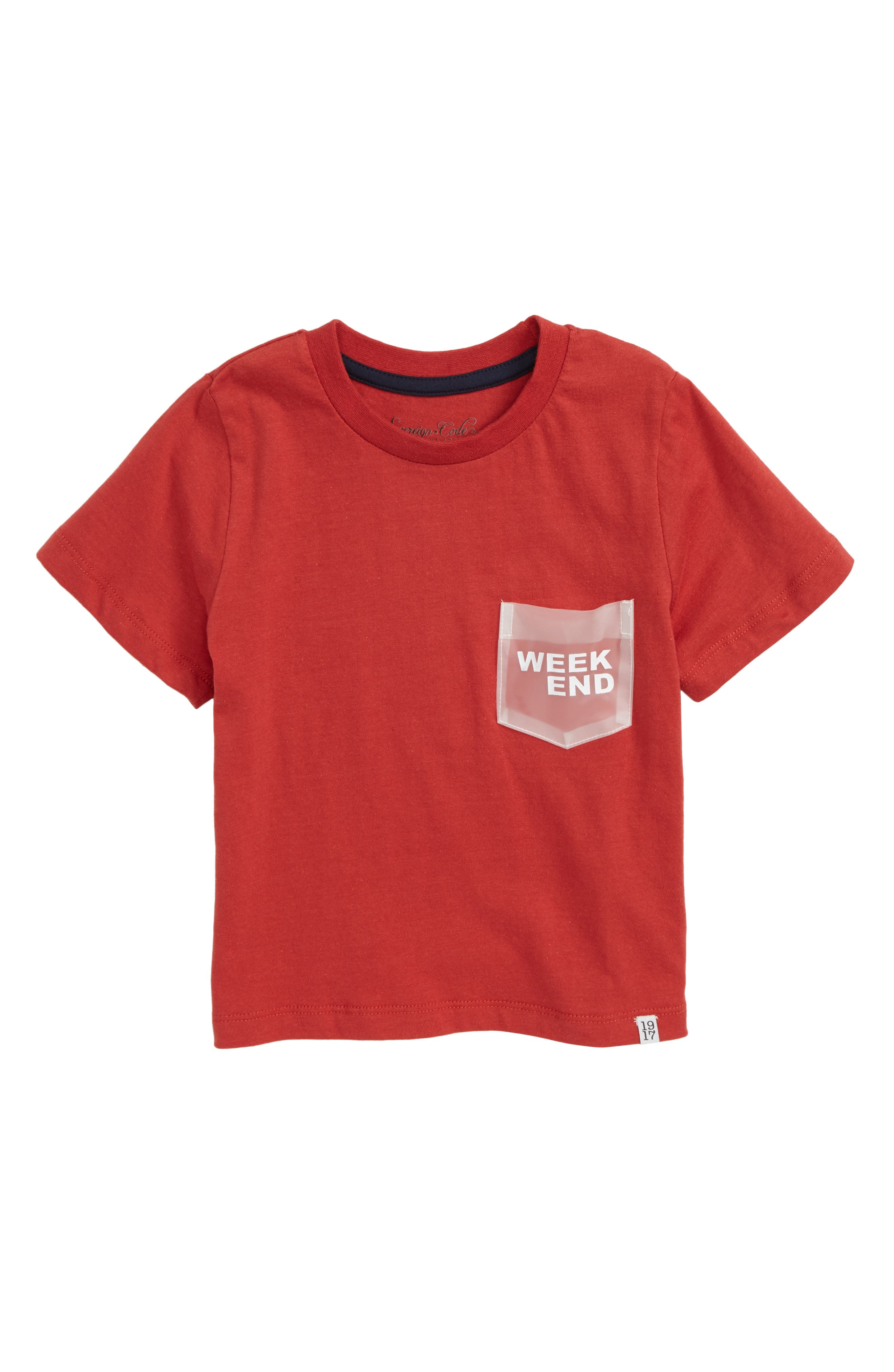 Lacy Pocket T-Shirt,                         Main,                         color, Red
