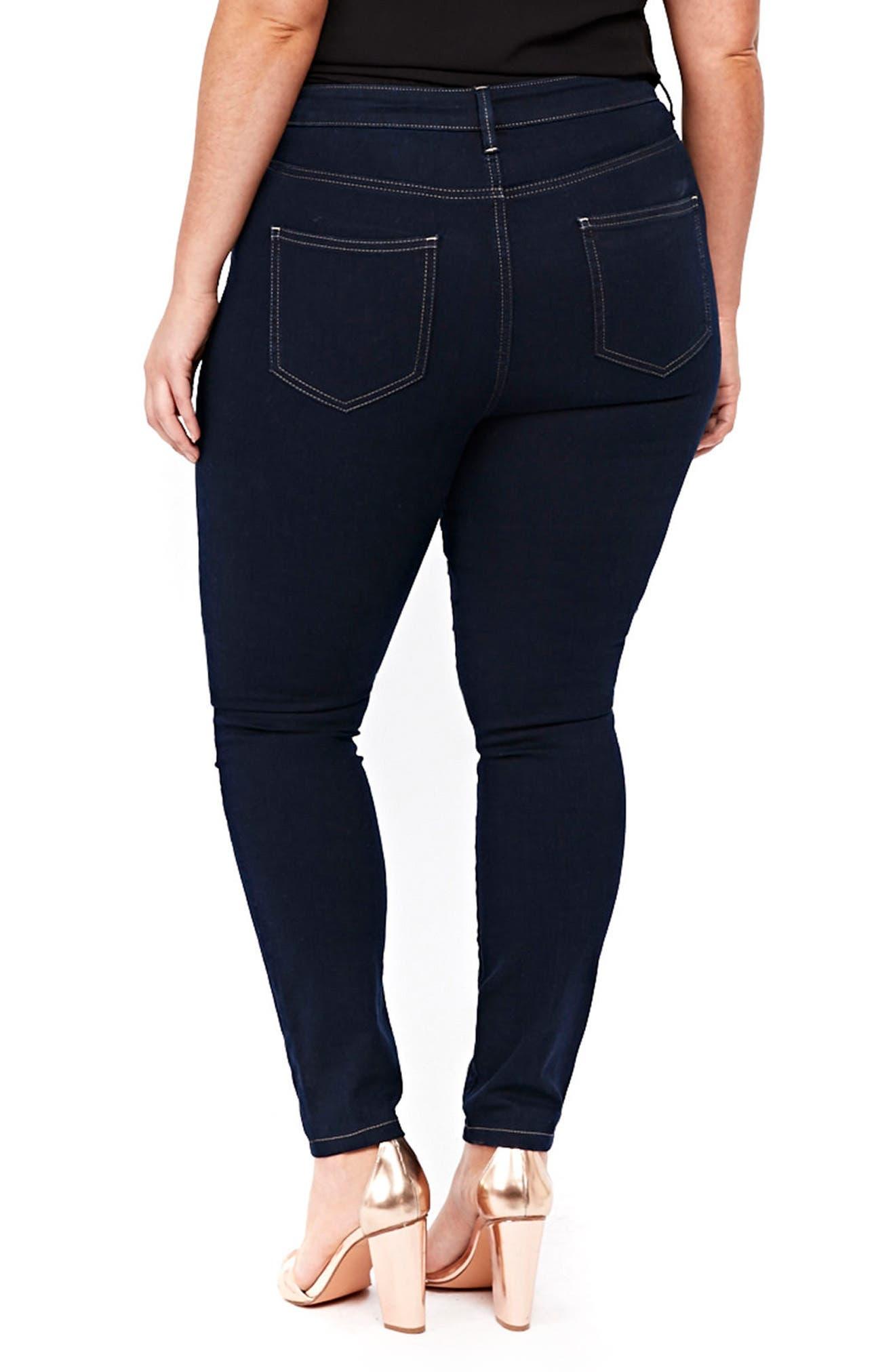 Pintuck High Waist Skinny Jeans,                             Alternate thumbnail 3, color,                             Indigo