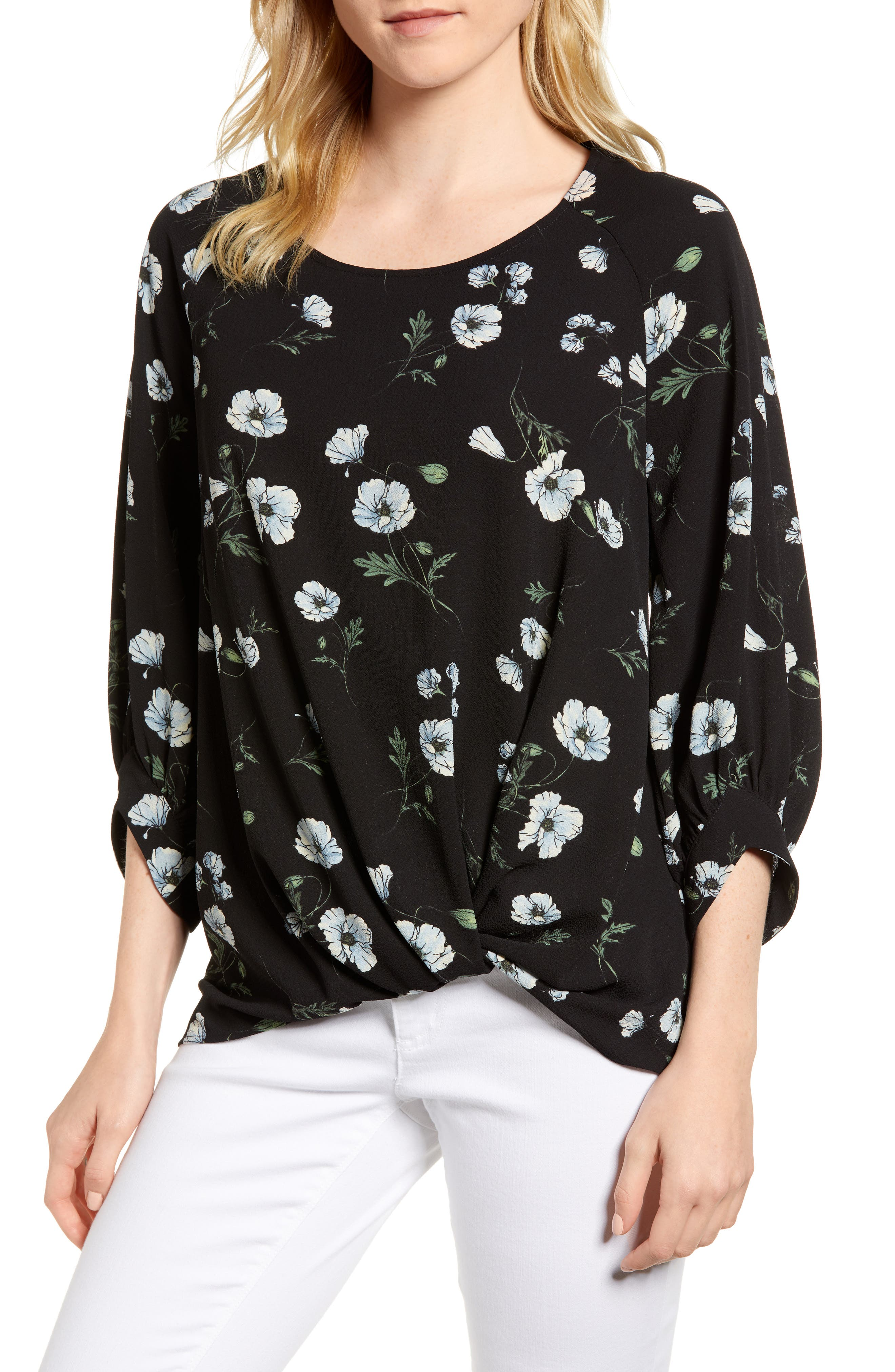 x Living in Yellow Maggie Twist Hem Top,                         Main,                         color, Black Floral