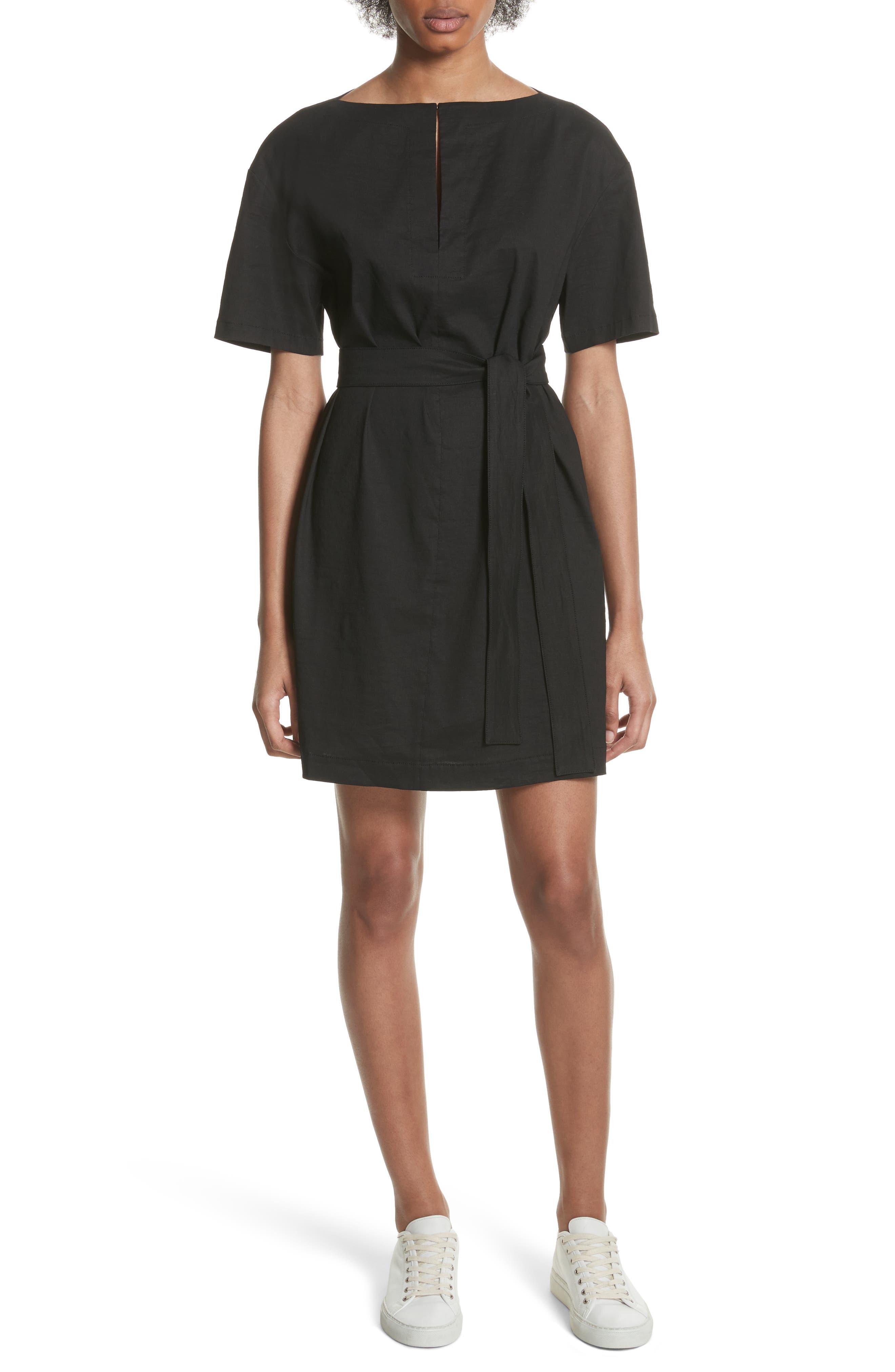 Belted Shift Dress,                             Main thumbnail 1, color,                             Black Multi