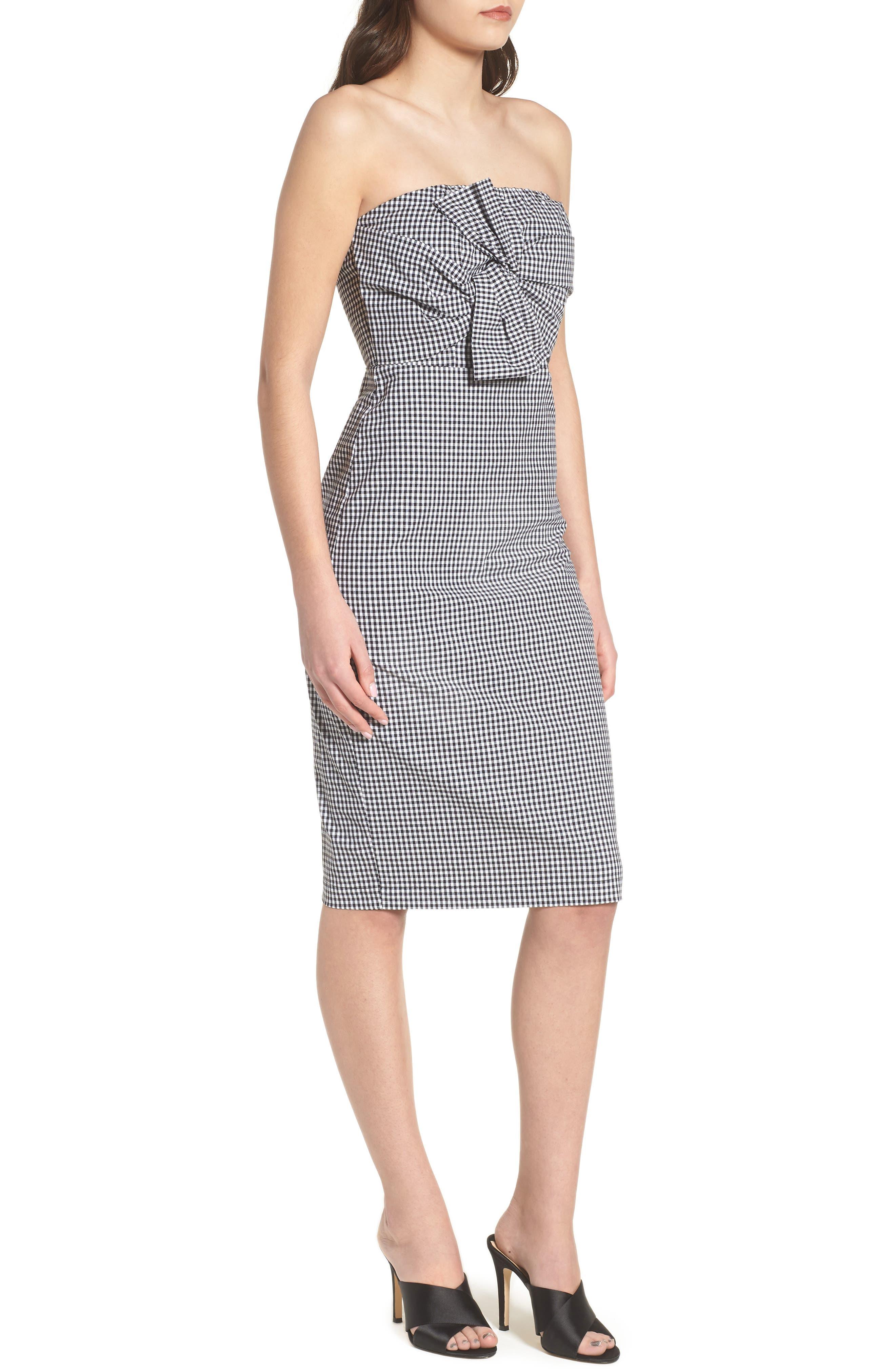 Strapless Gingham Dress,                             Alternate thumbnail 3, color,                             Black Gingham Stripe