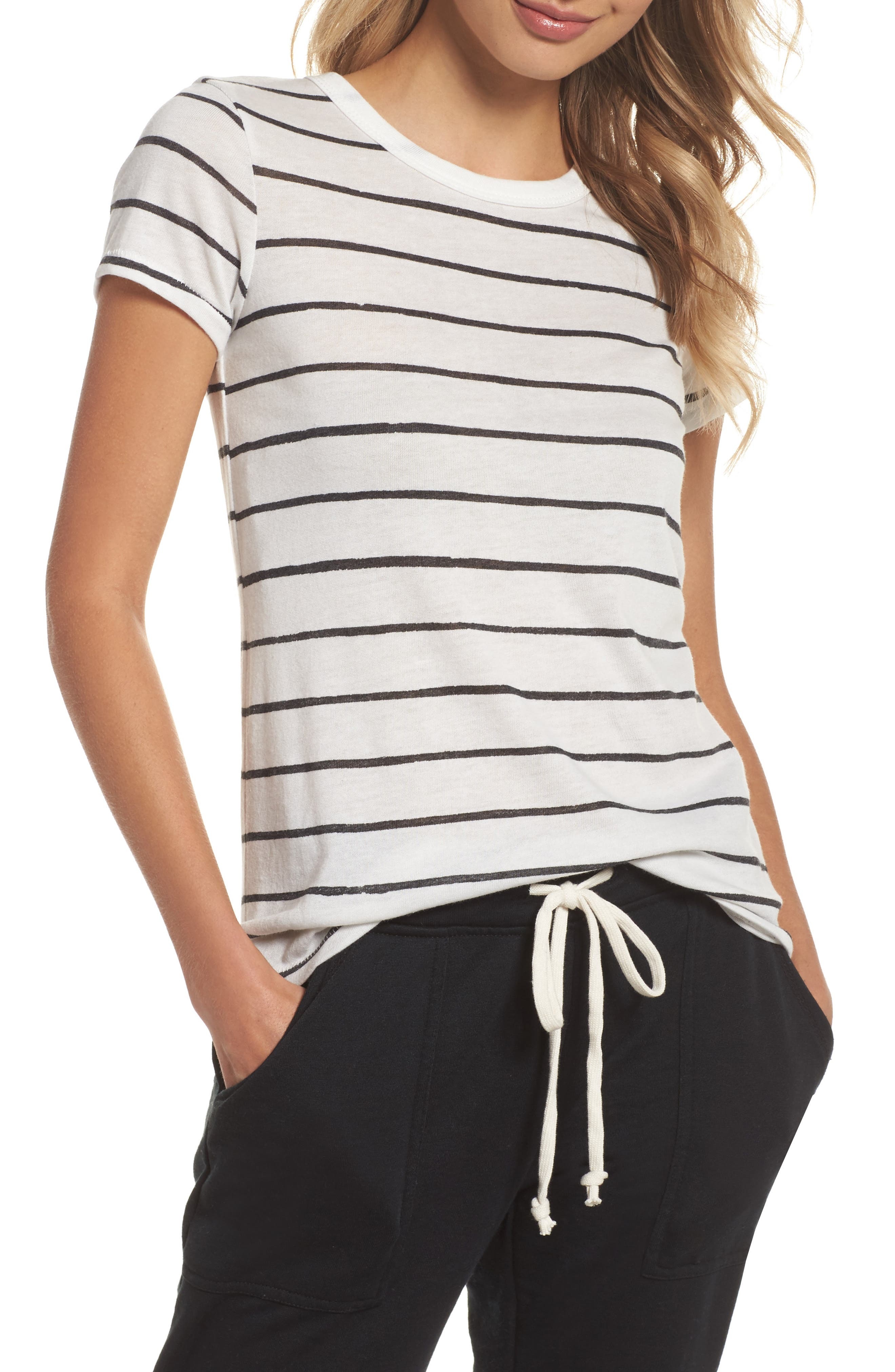 Ideal Print Tee,                         Main,                         color, Eco Ivory Ink Stripe