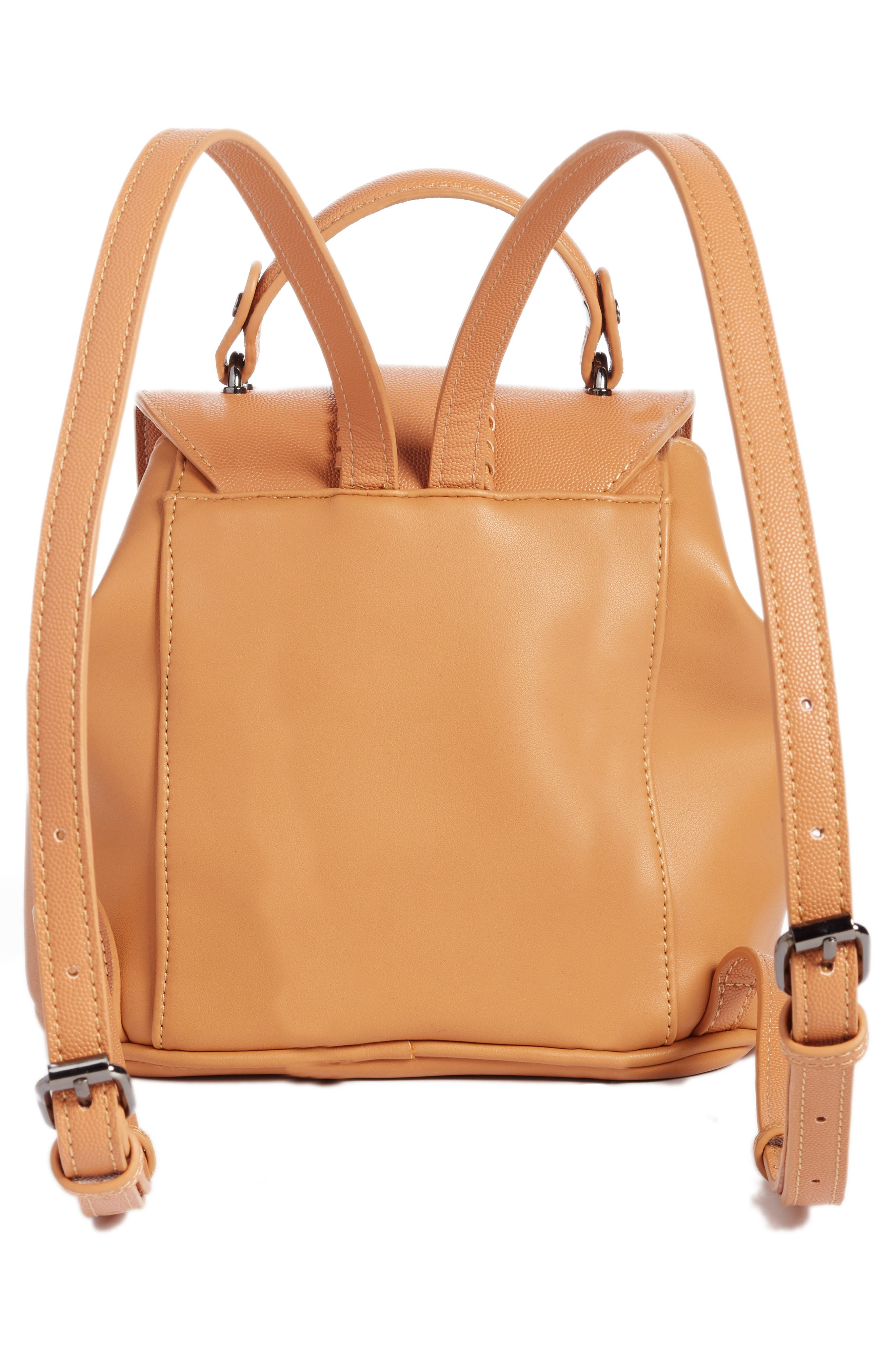 Whipstitch Faux Leather Backpack,                             Alternate thumbnail 3, color,                             Cognac