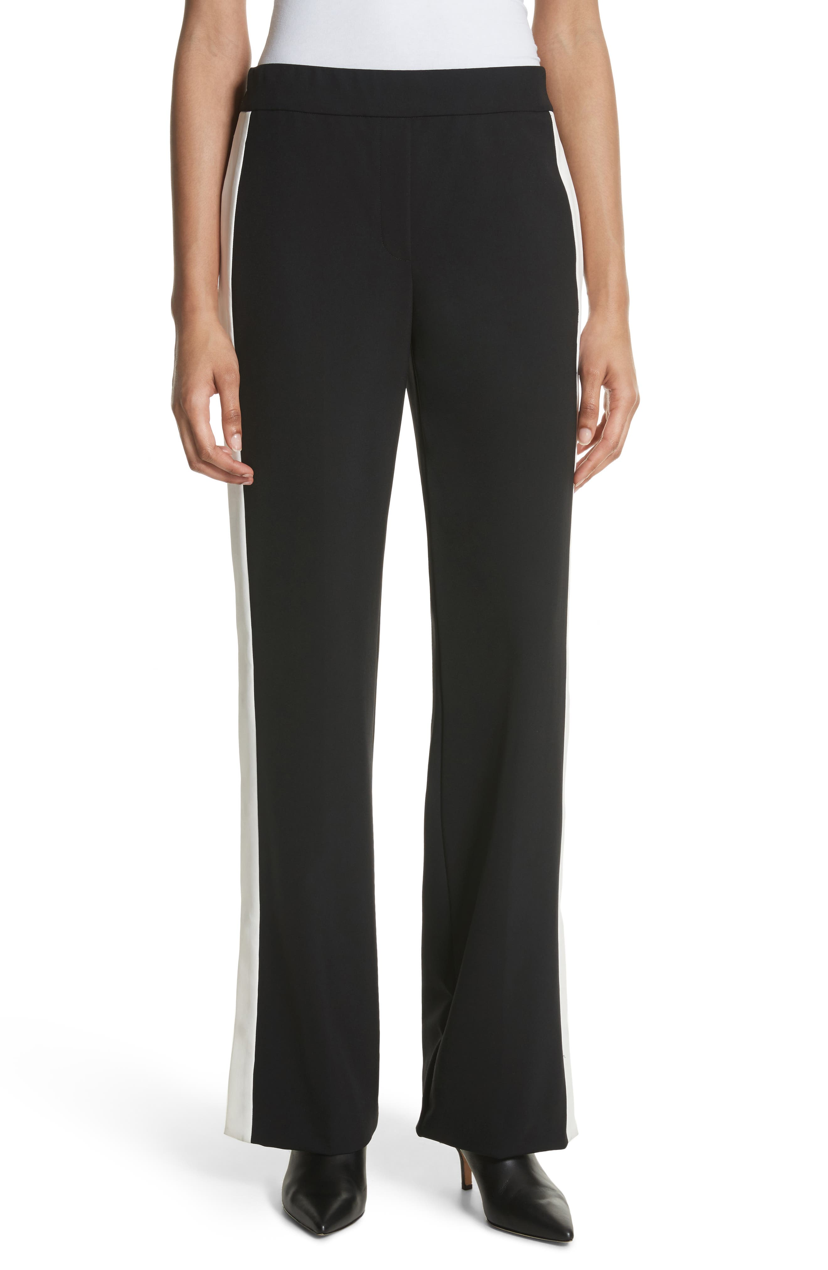 Snap Side Track Pants,                             Main thumbnail 1, color,                             Black/ Ivory