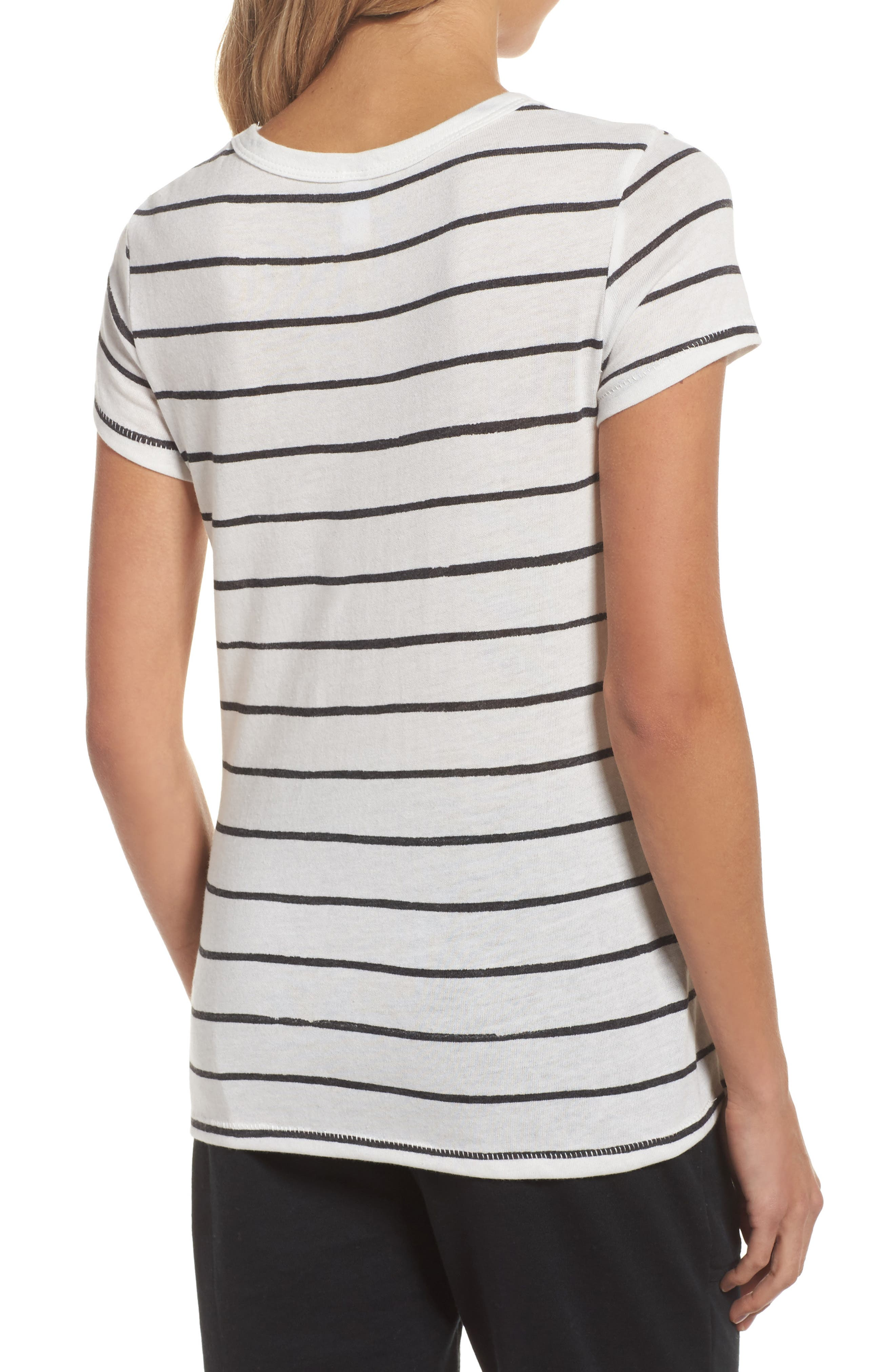Ideal Print Tee,                             Alternate thumbnail 2, color,                             Eco Ivory Ink Stripe