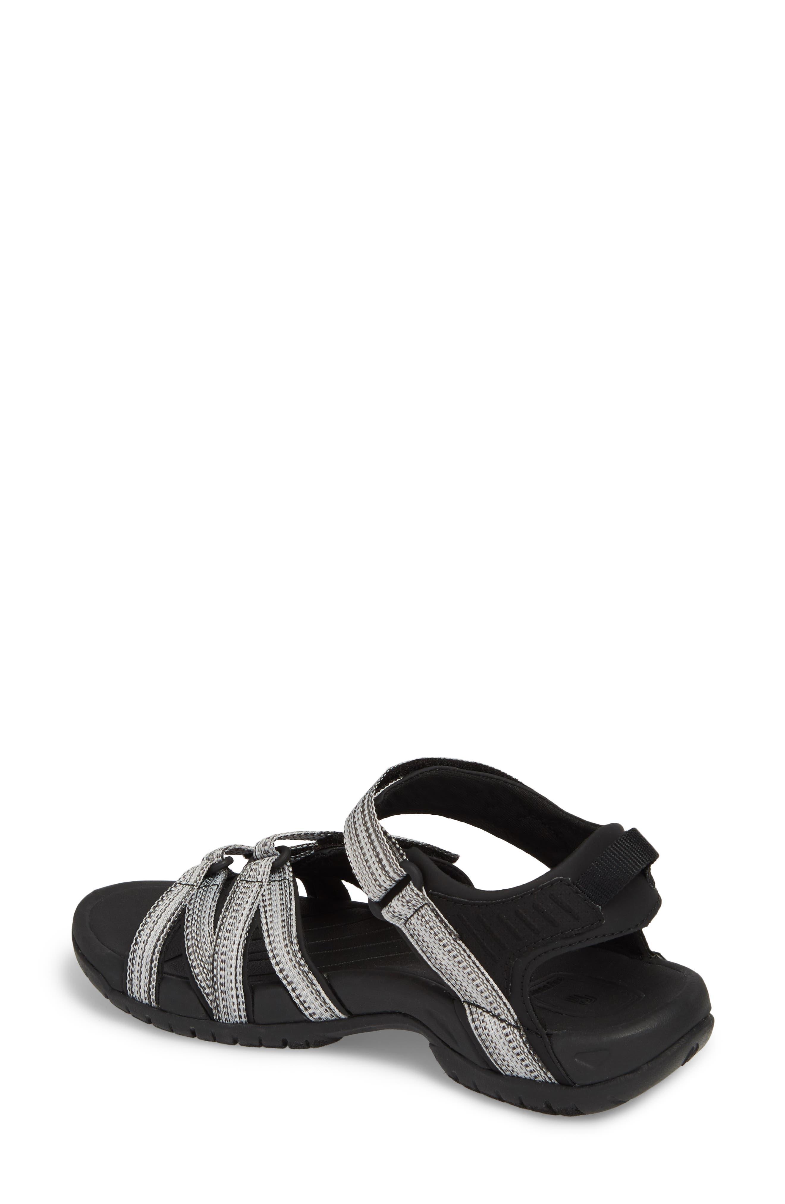 'Tirra' Sandal,                             Alternate thumbnail 2, color,                             Black/ White Multi Fabric