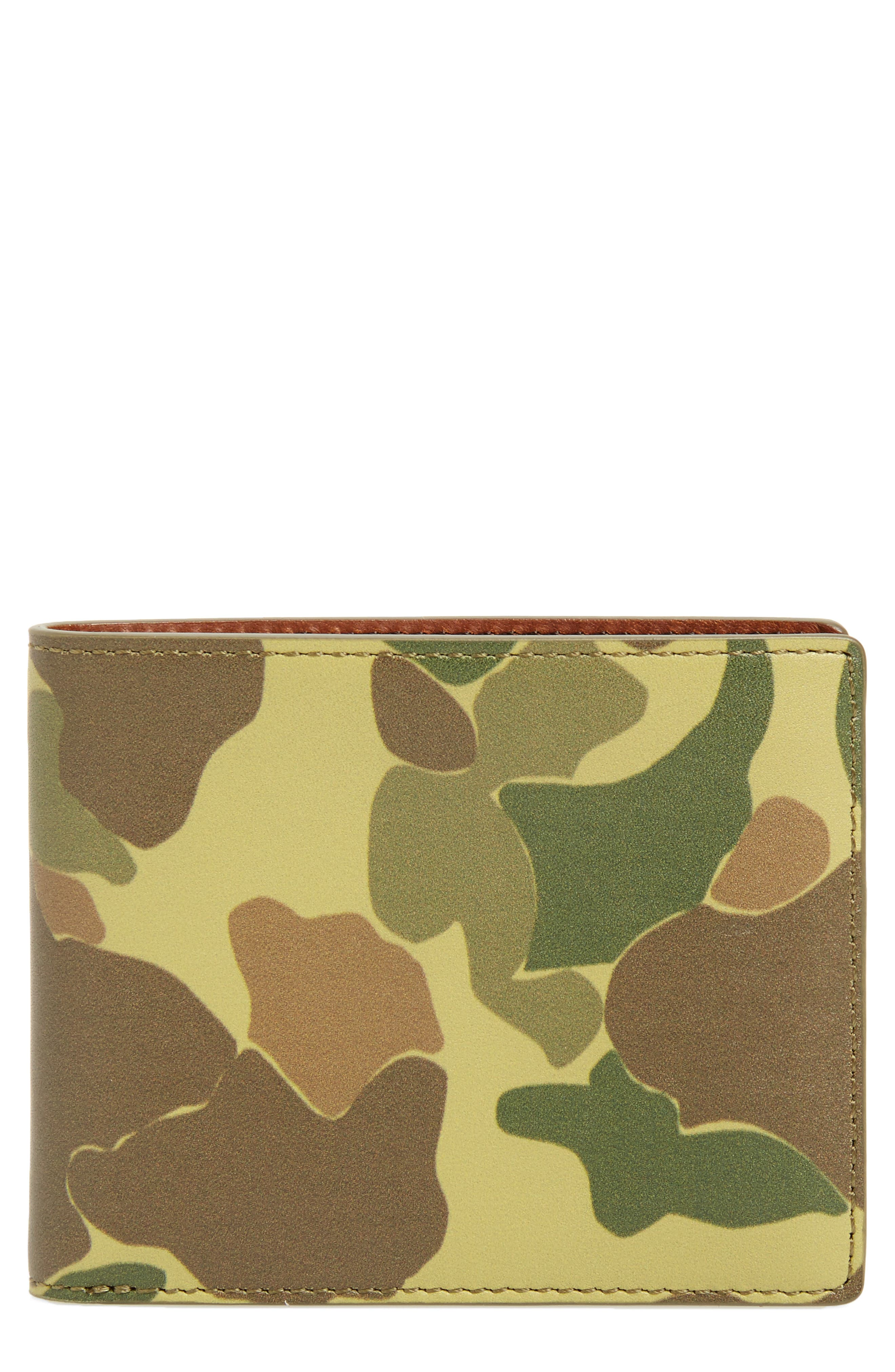 Hampshire Leather Bifold Wallet,                             Main thumbnail 1, color,                             Camo