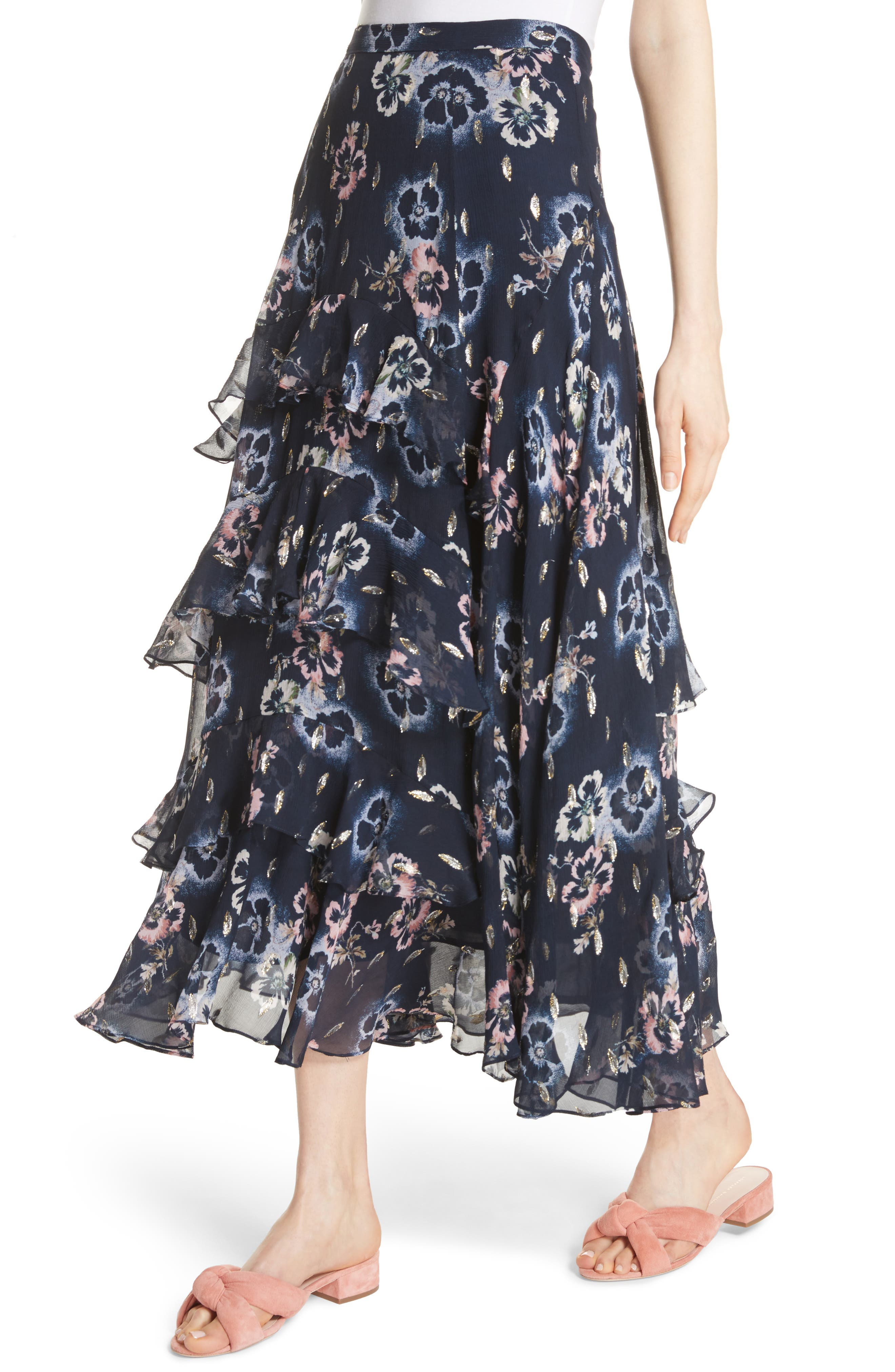 Faded Floral Midi Skirt,                             Alternate thumbnail 4, color,                             Navy
