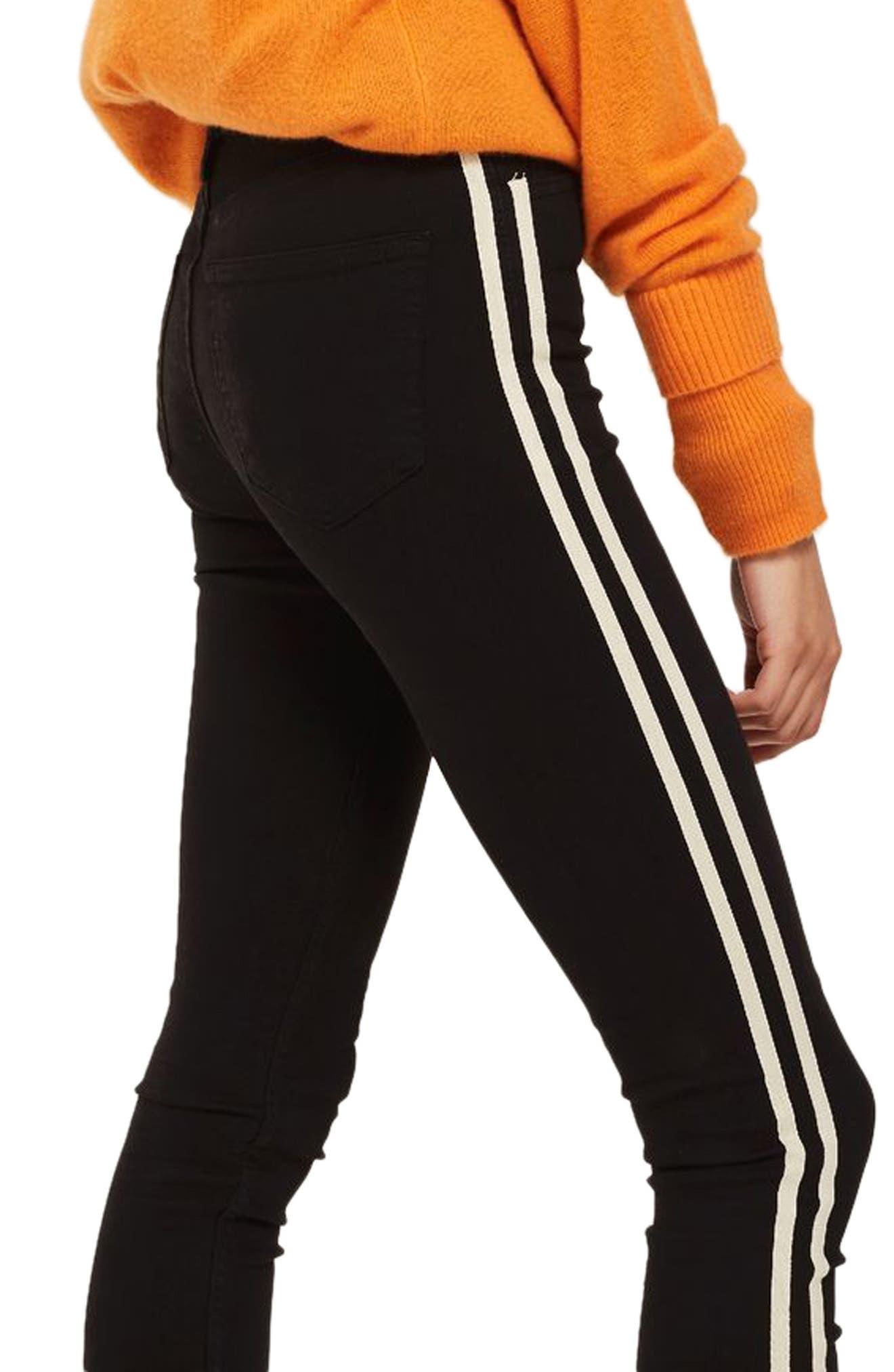 Moto Side Stripe Jeans,                             Main thumbnail 1, color,                             Black Multi