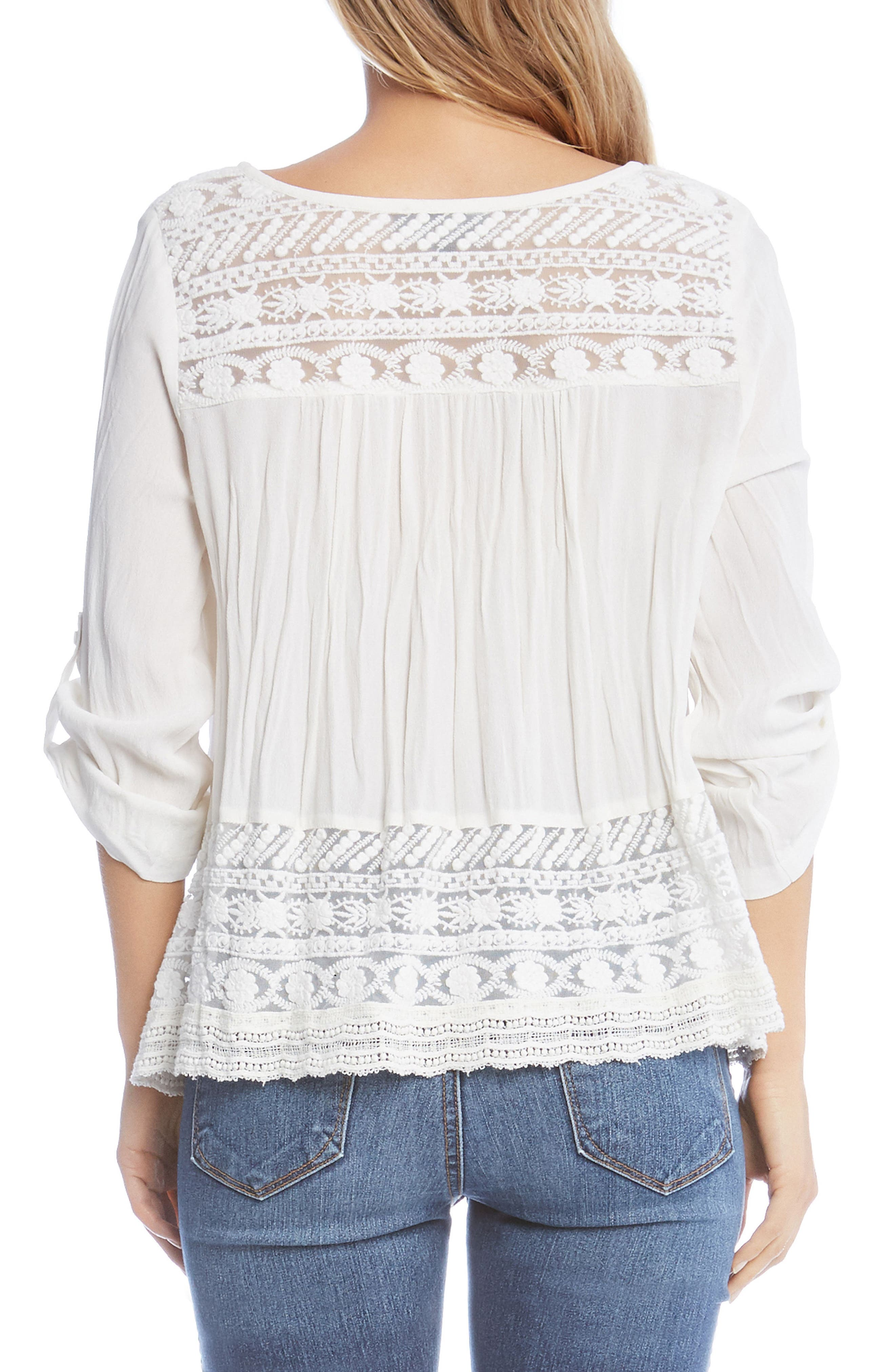 Lace Inset Top,                             Alternate thumbnail 3, color,                             Off White