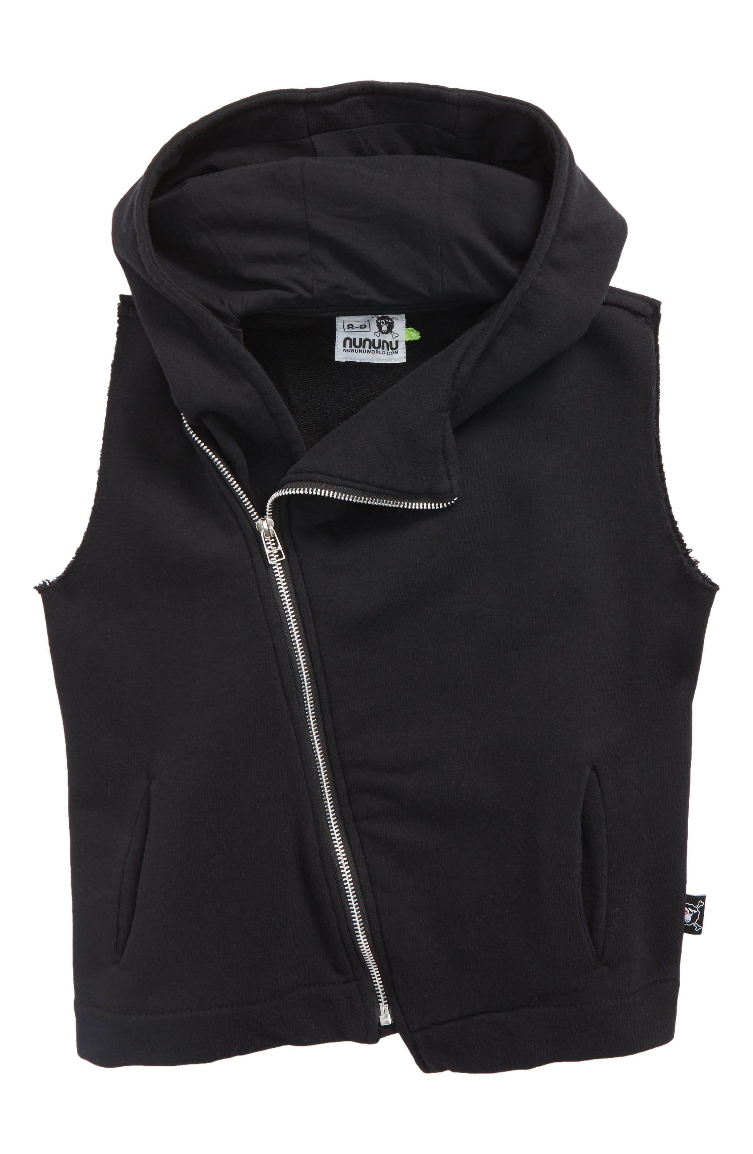 Asymmetrical Zip Hooded Vest,                             Main thumbnail 1, color,                             Black