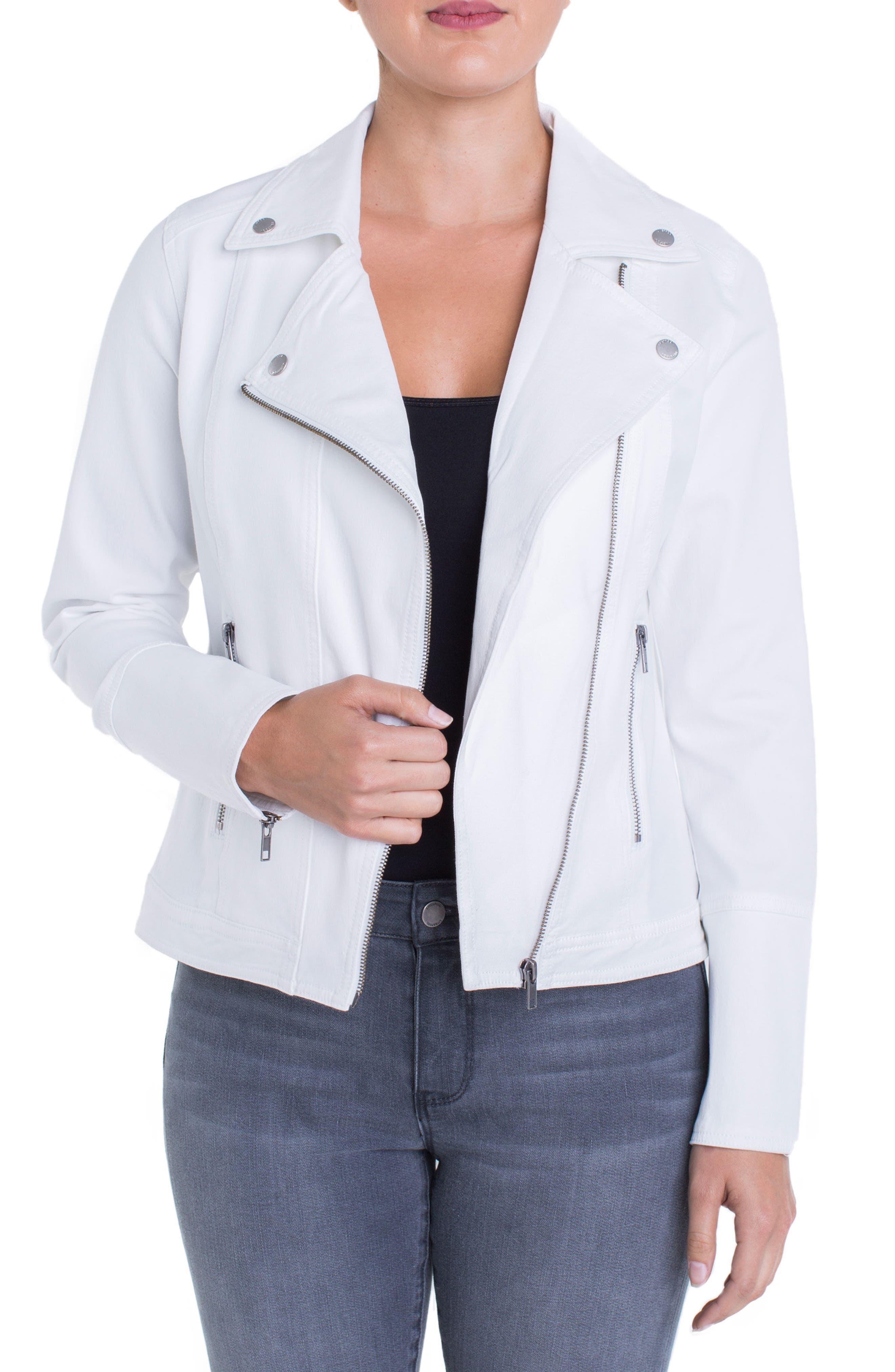 Stretch Cotton Moto Jacket,                             Alternate thumbnail 3, color,                             Bright White