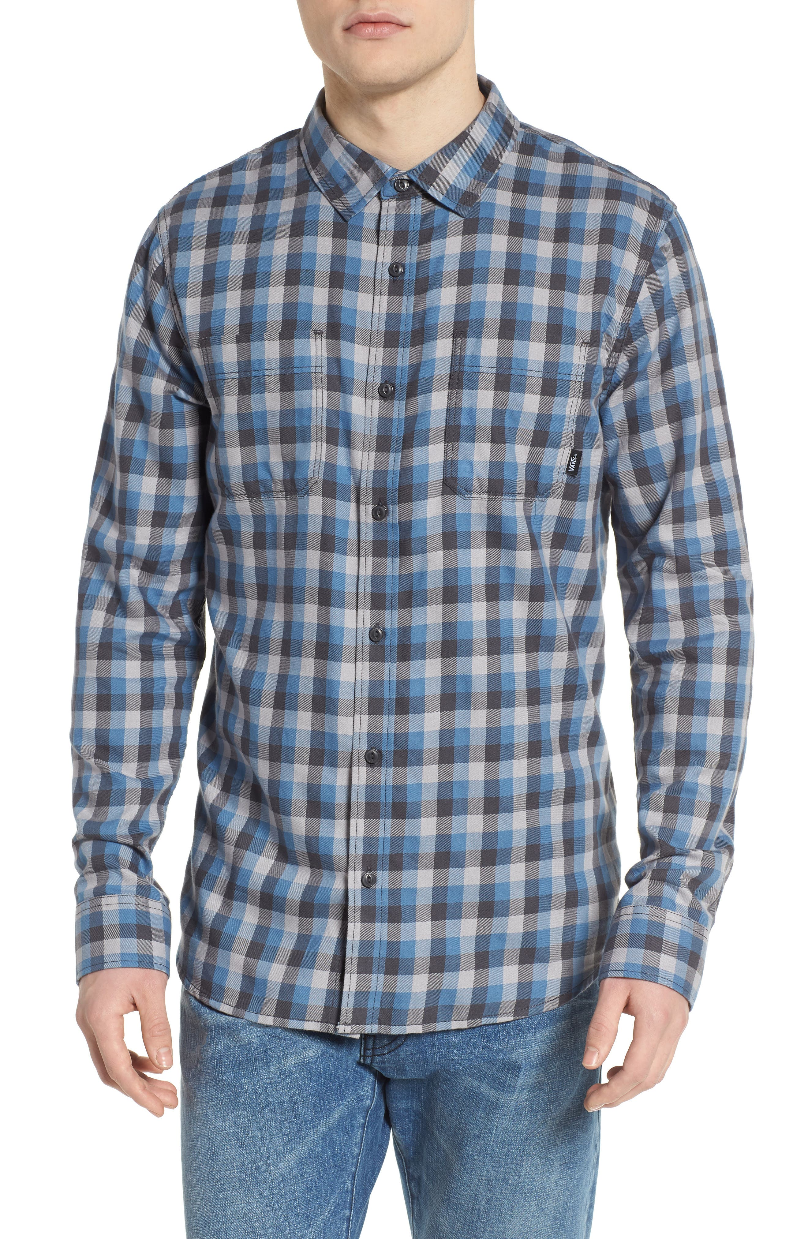 Alameda II Plaid Flannel Shirt,                             Main thumbnail 1, color,                             Asphalt/ Copen Blue