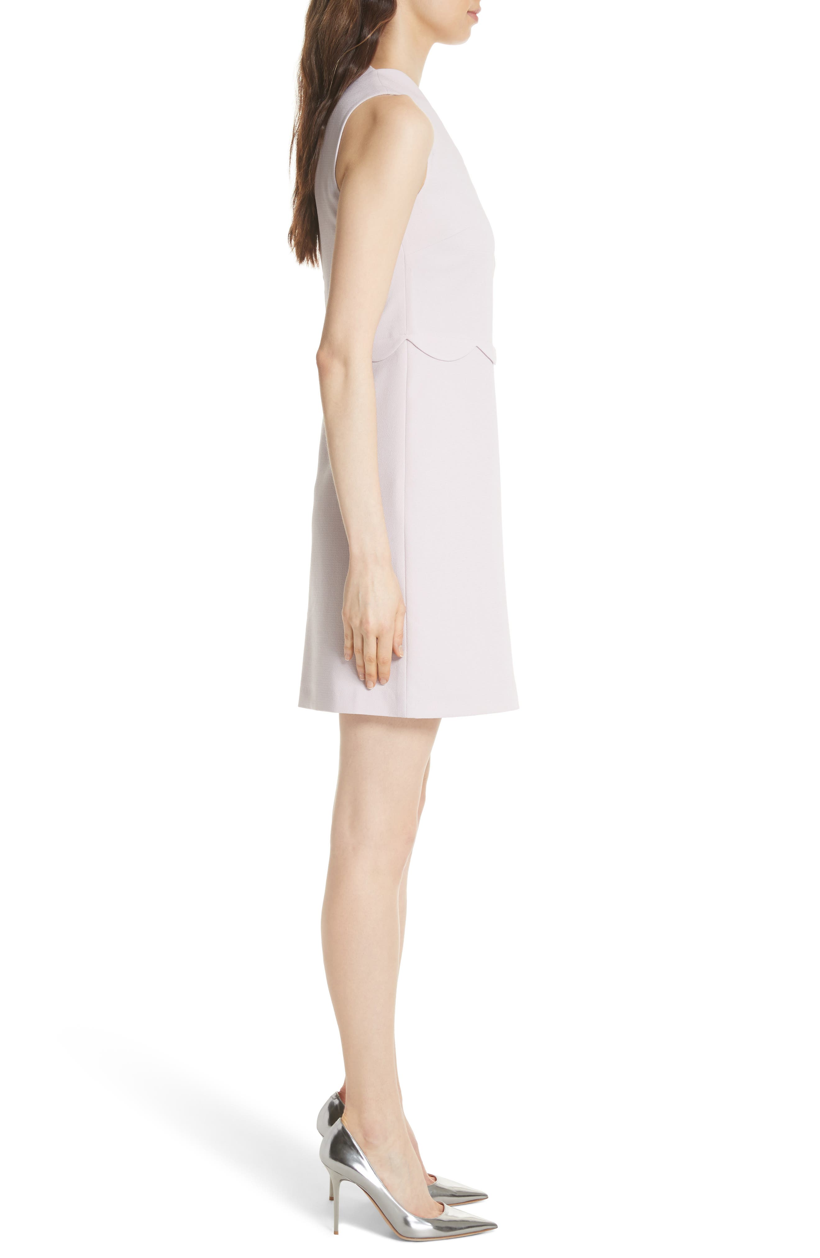 Scallop Edge Shift Dress,                             Alternate thumbnail 3, color,                             Dusky Pink