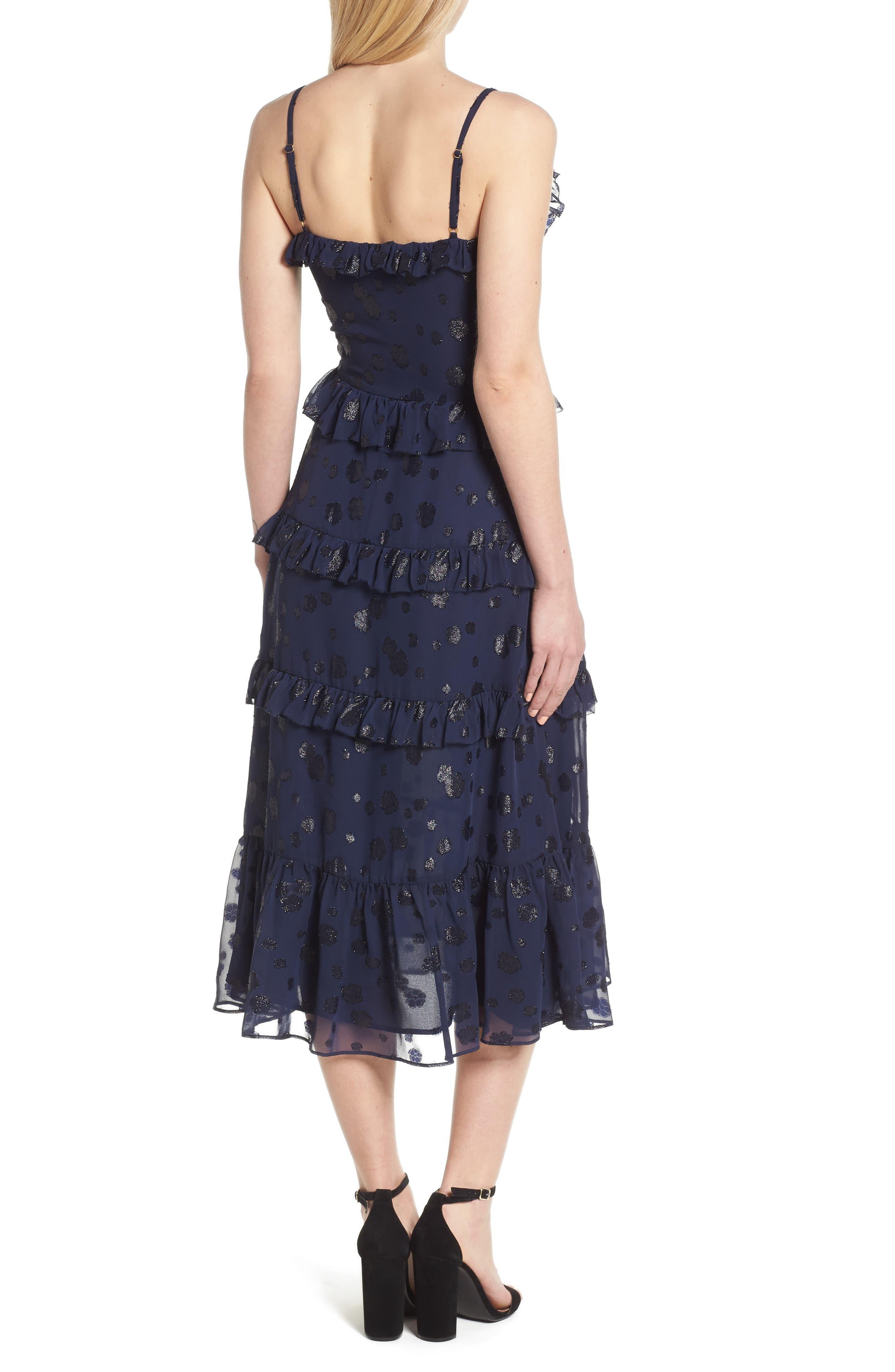 Tiered Ruffle Dress,                             Alternate thumbnail 2, color,                             True Navy