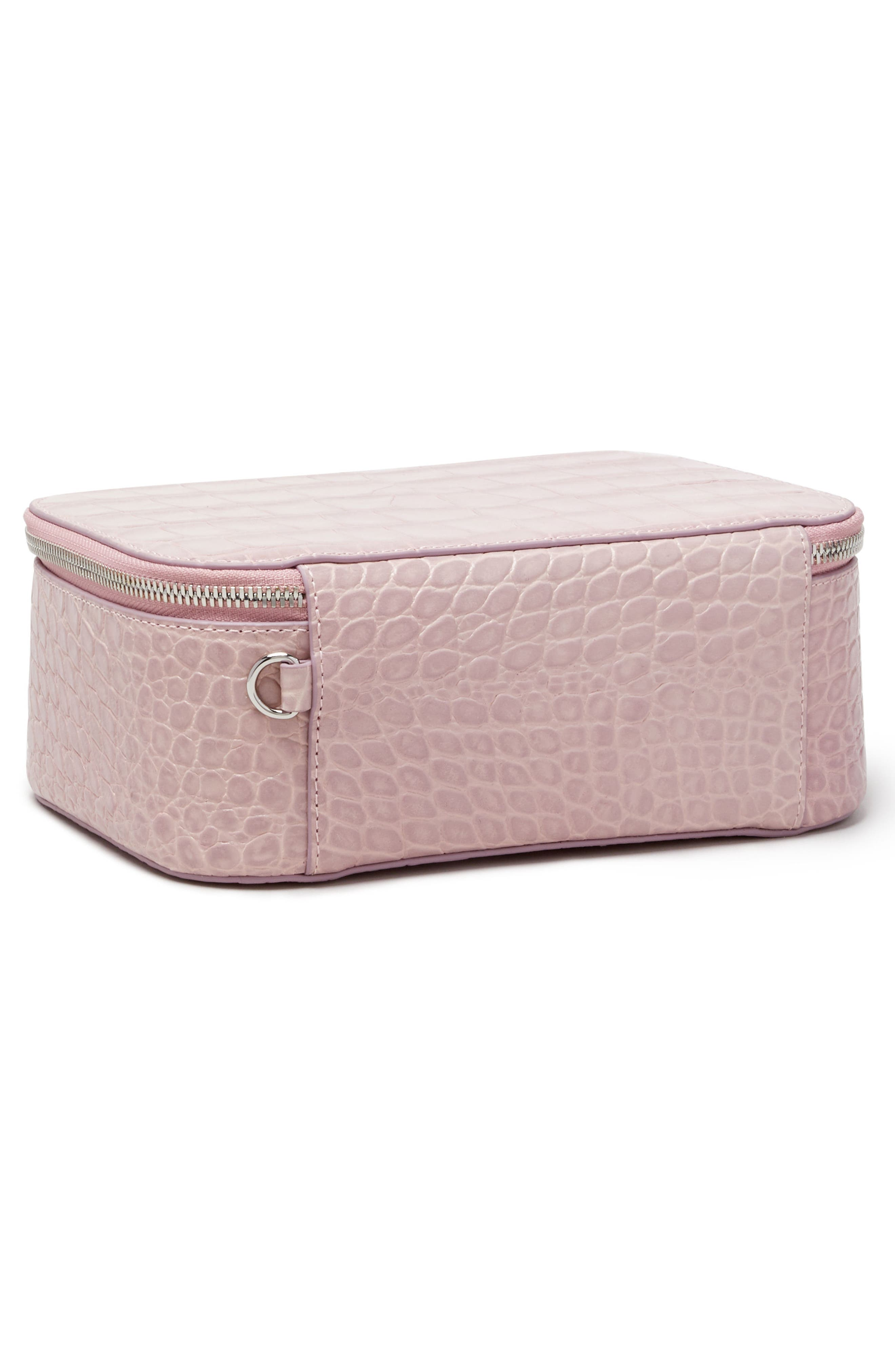 Croc Embossed Bigger Makeup Bag,                             Alternate thumbnail 4, color,                             Mauve