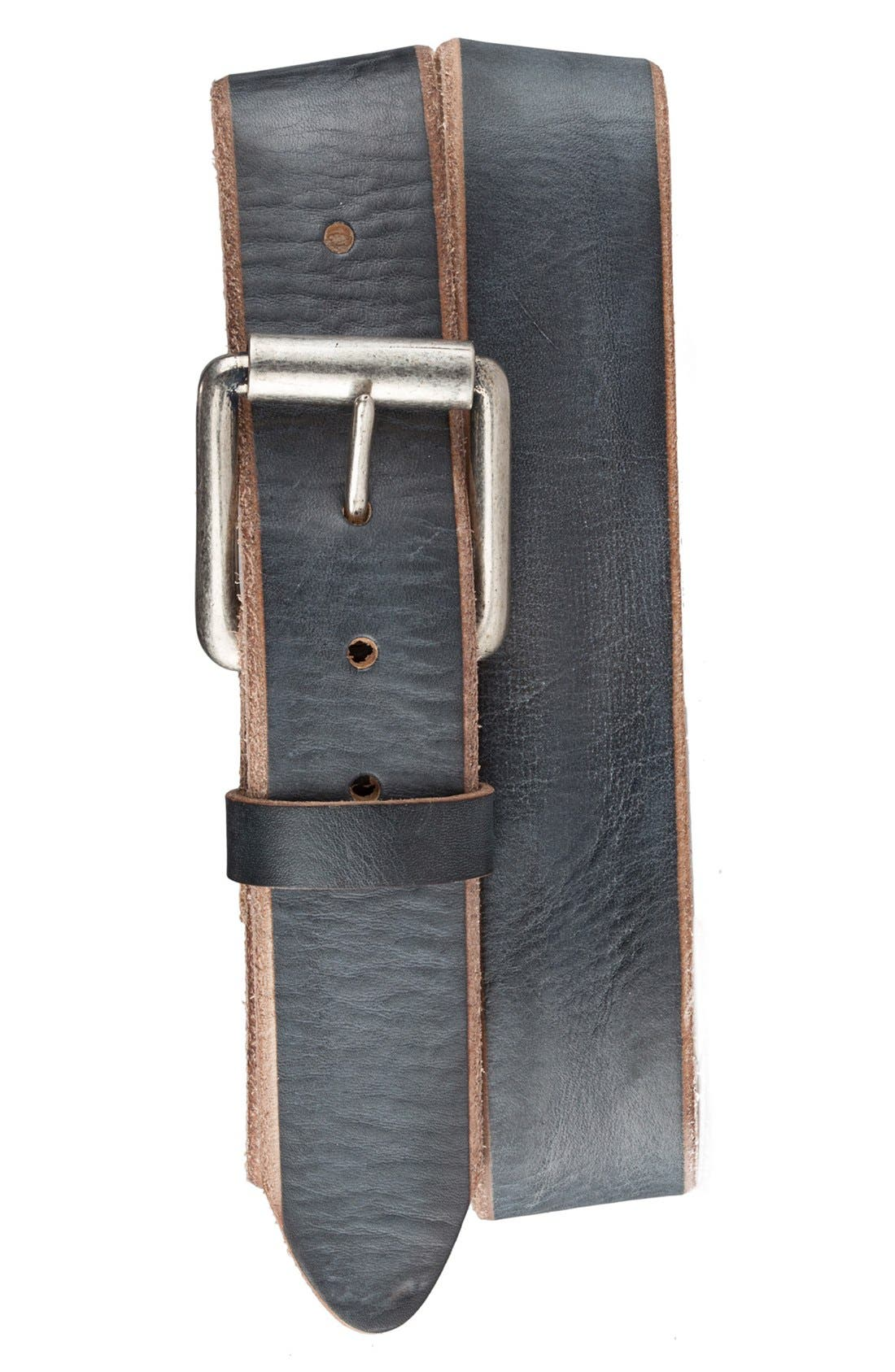 'Jelly Bean' Raw Edge Leather Belt,                         Main,                         color, Blueberry