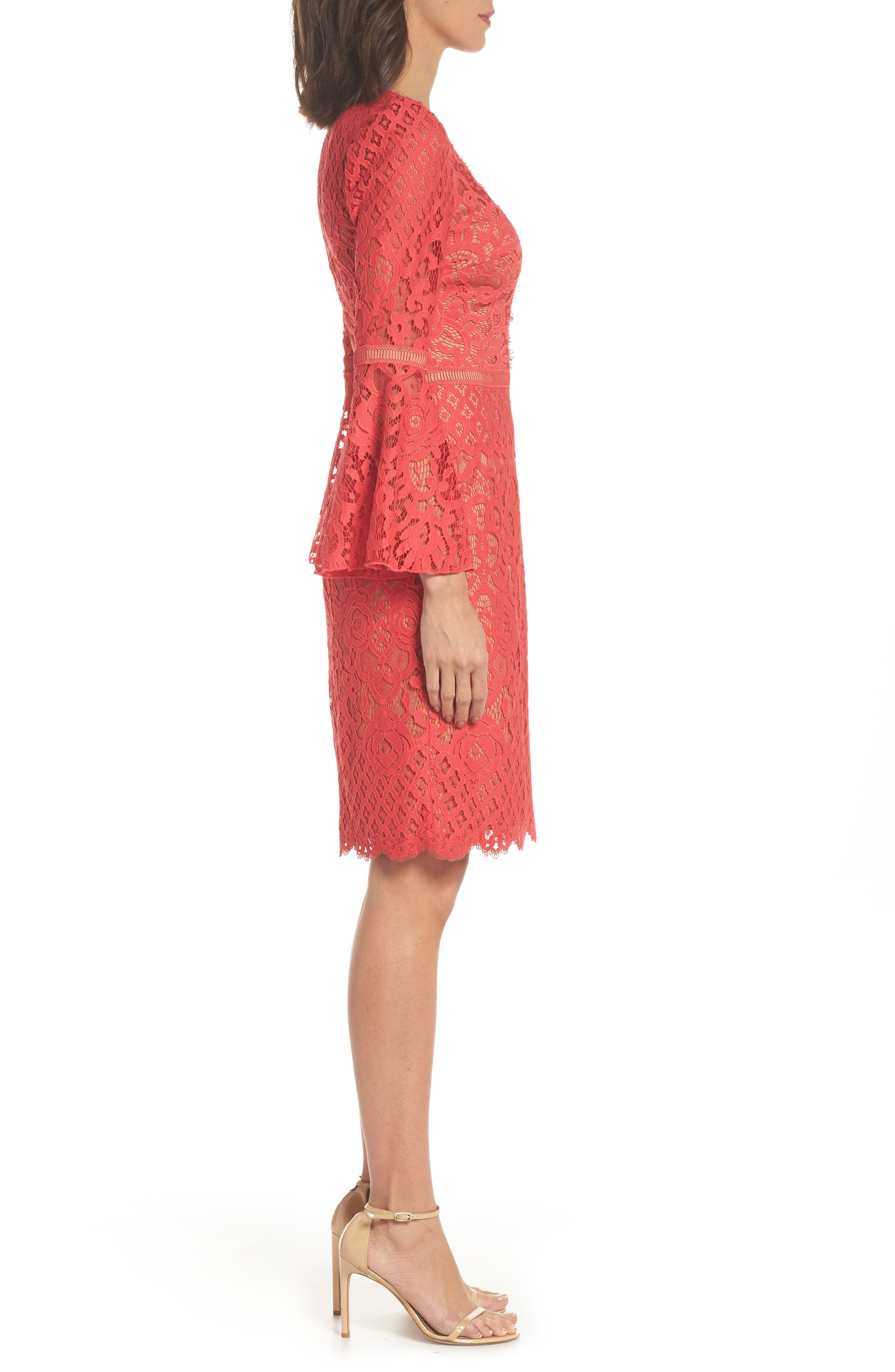Kyra Bell Sleeve Lace Dress,                             Alternate thumbnail 3, color,                             Red/ Jasper