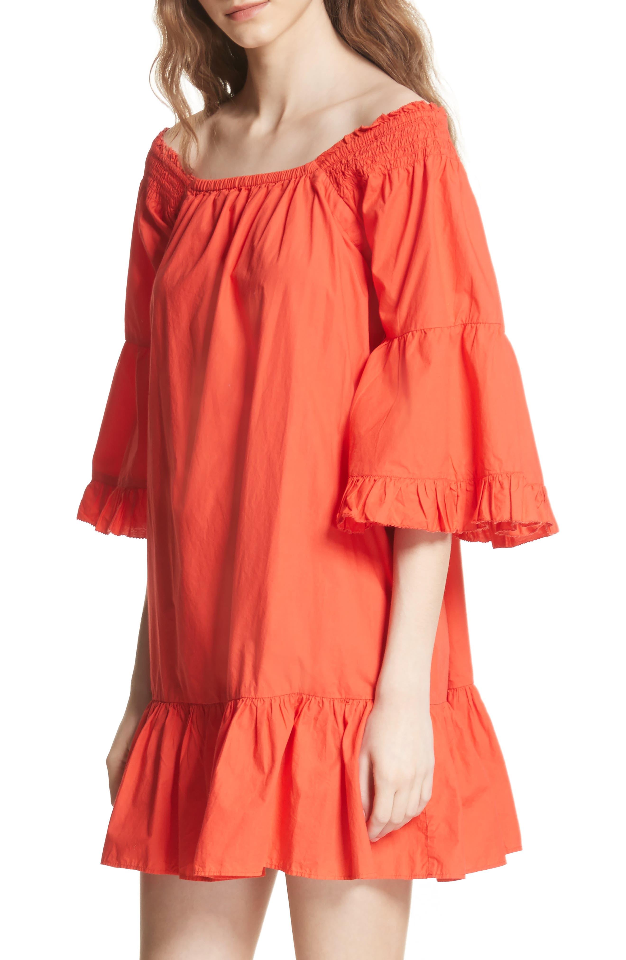 Colstona Ruffle Cotton Dress,                             Alternate thumbnail 2, color,                             Salsa
