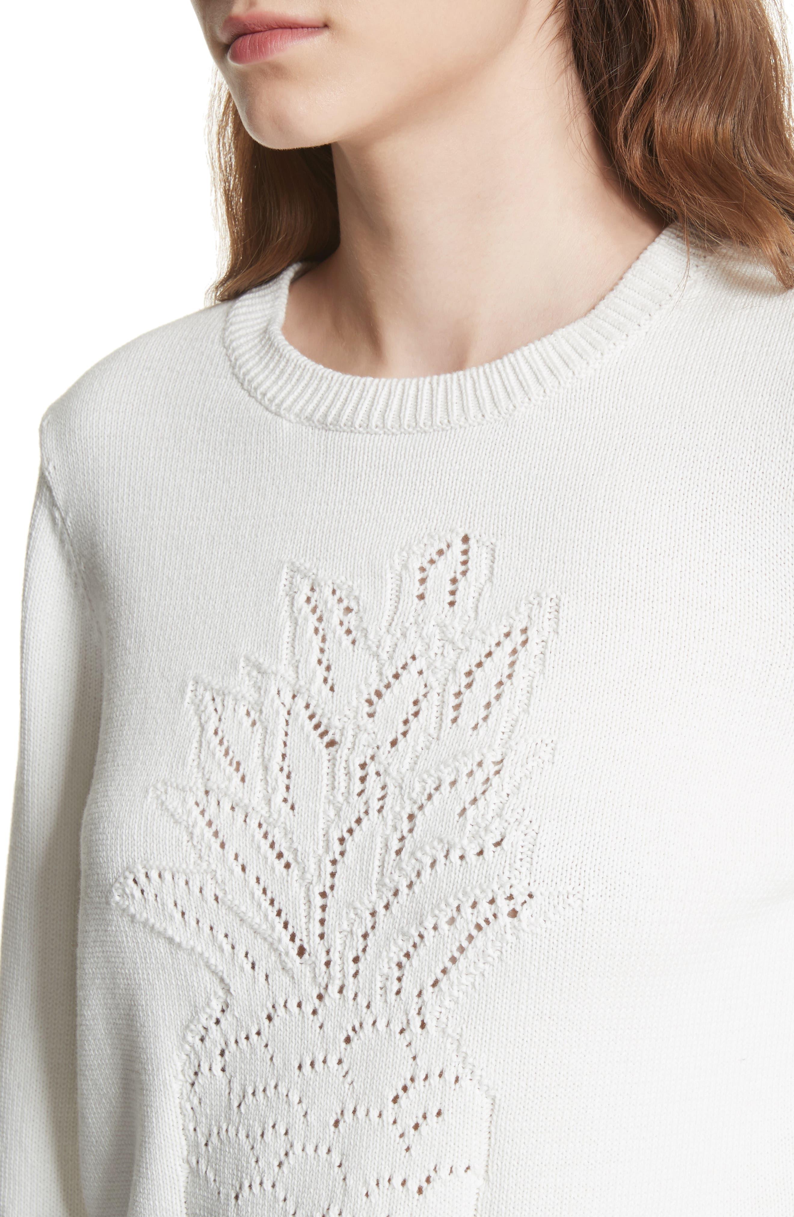 Barin Pineapple Cotton Sweater,                             Alternate thumbnail 4, color,                             Porcelain