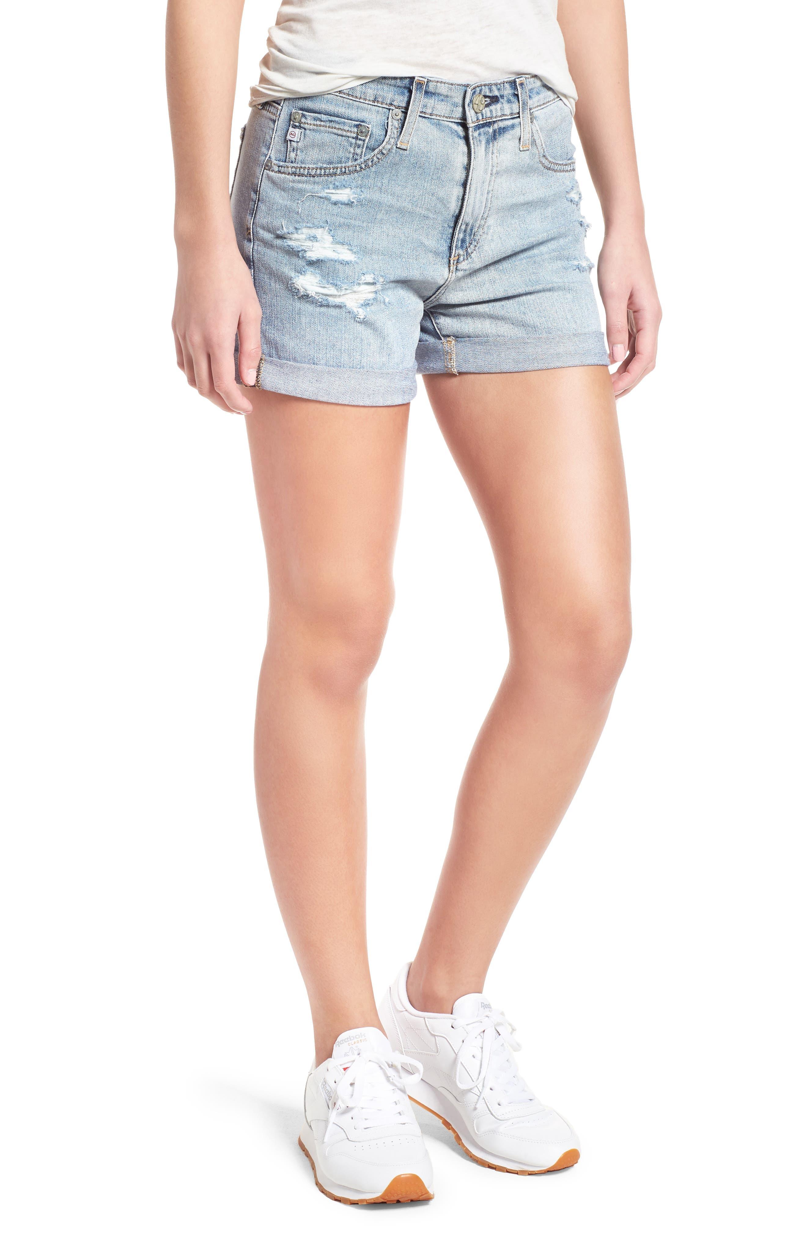 Hailey High Waist Cuff Denim Shorts,                             Main thumbnail 1, color,                             21 Yrs-Reflection Destructed