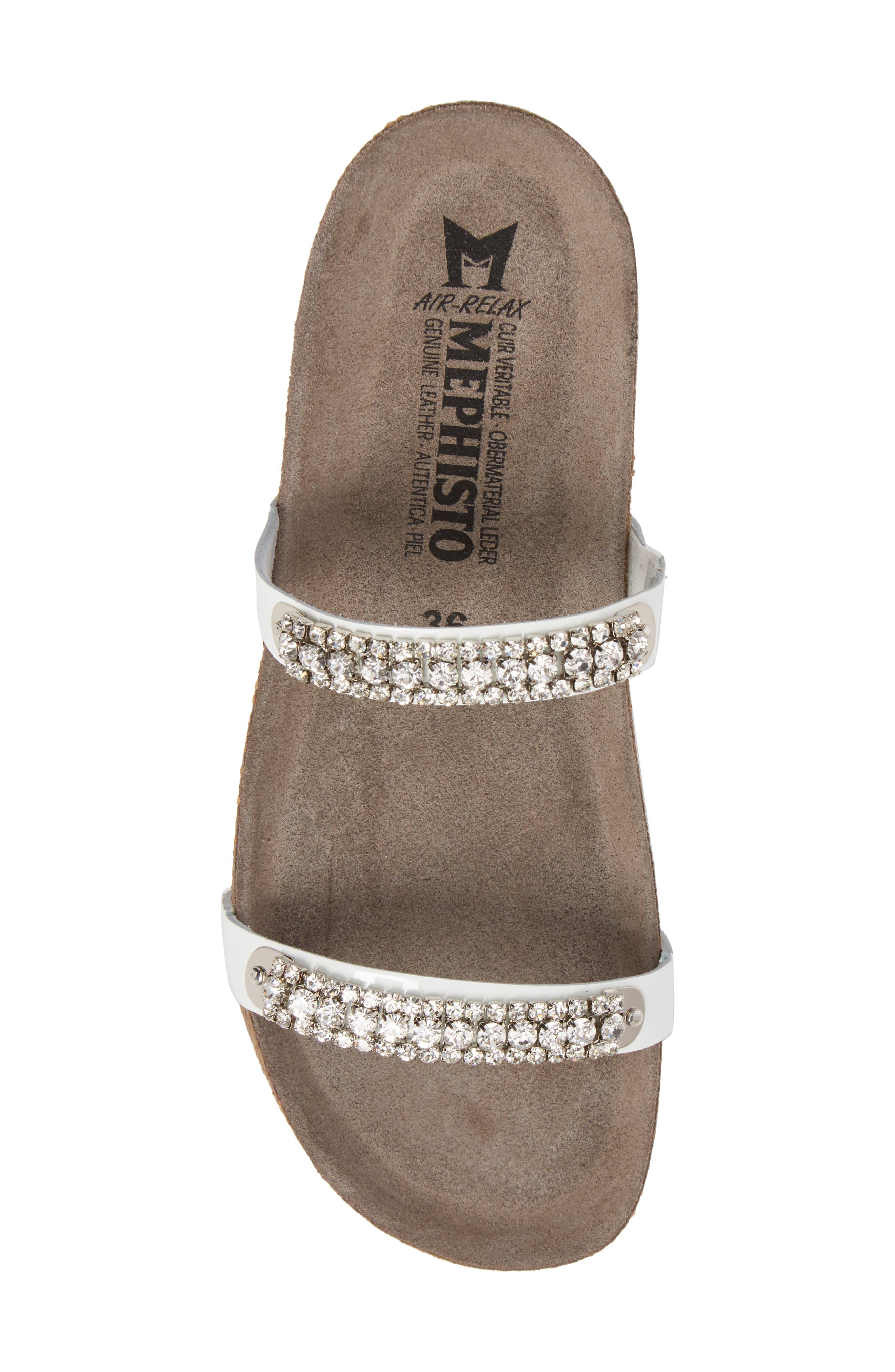 'Ivana' Crystal Embellished Slide Sandal,                             Alternate thumbnail 5, color,                             White Patent