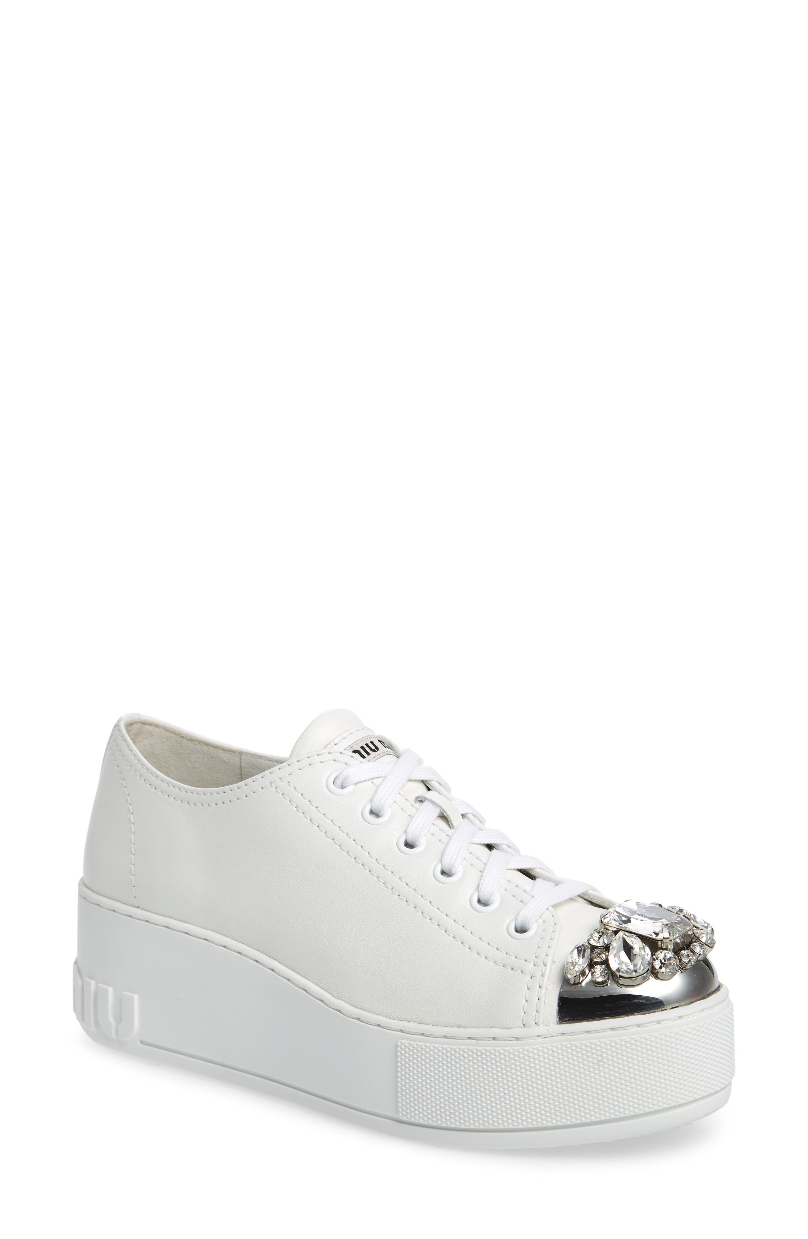 Crystal Cap Toe Sneaker,                             Main thumbnail 1, color,                             White