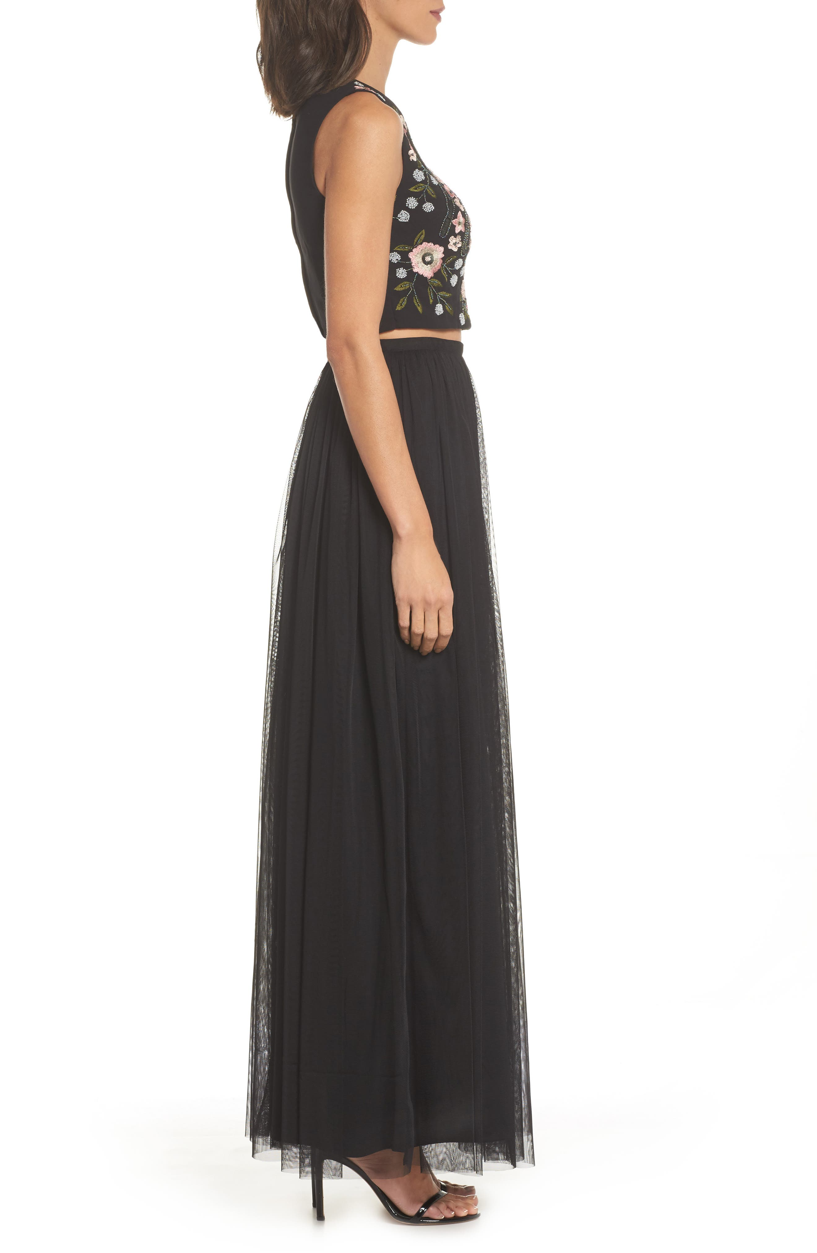 Beaded Two-Piece Gown,                             Alternate thumbnail 3, color,                             Black Multi