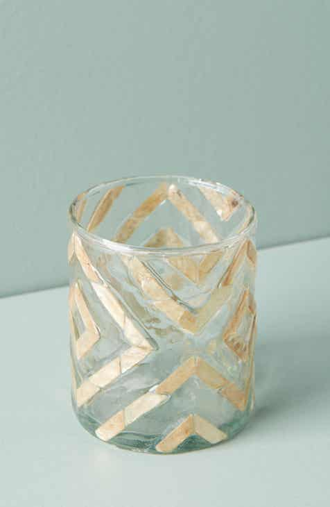 Anthropologie Herringbone Capiz Votive Candleholder