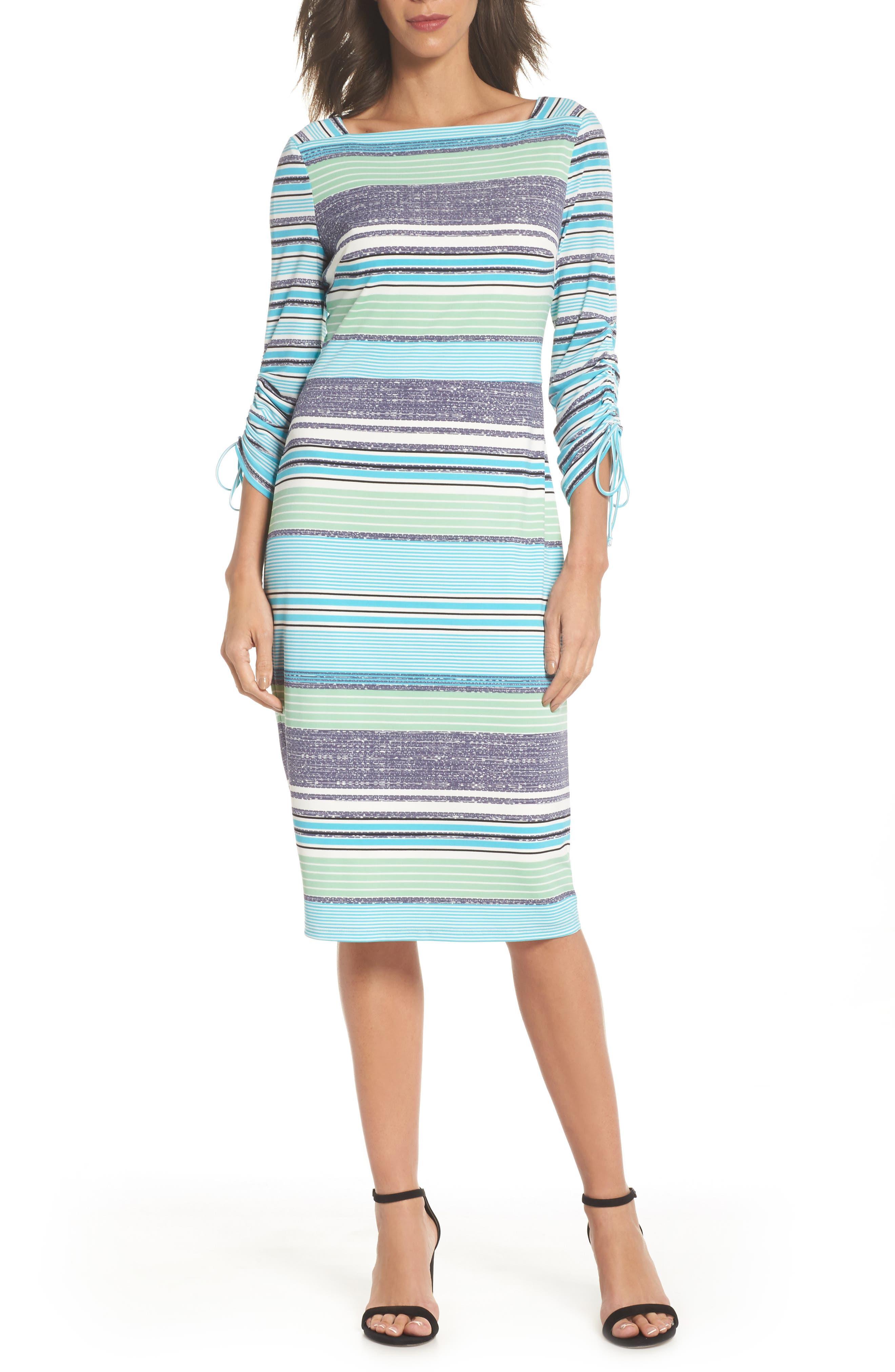 Ruched Sleeve Sheath Dress,                             Main thumbnail 1, color,                             White/ Aqua